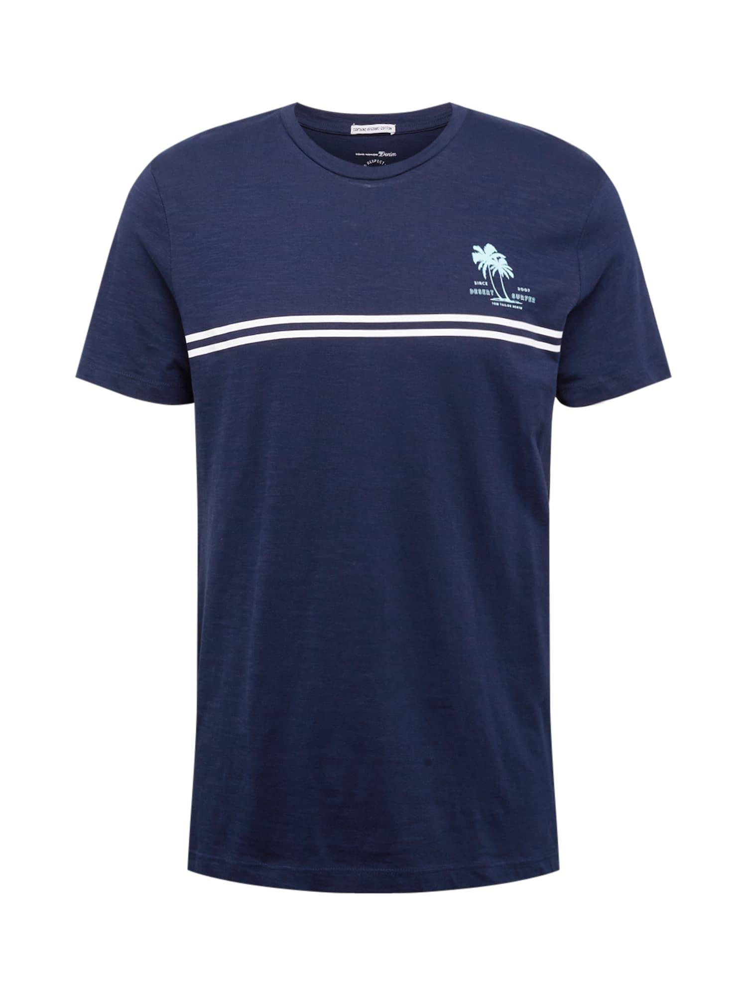 TOM TAILOR DENIM Tričko  modrá / bílá