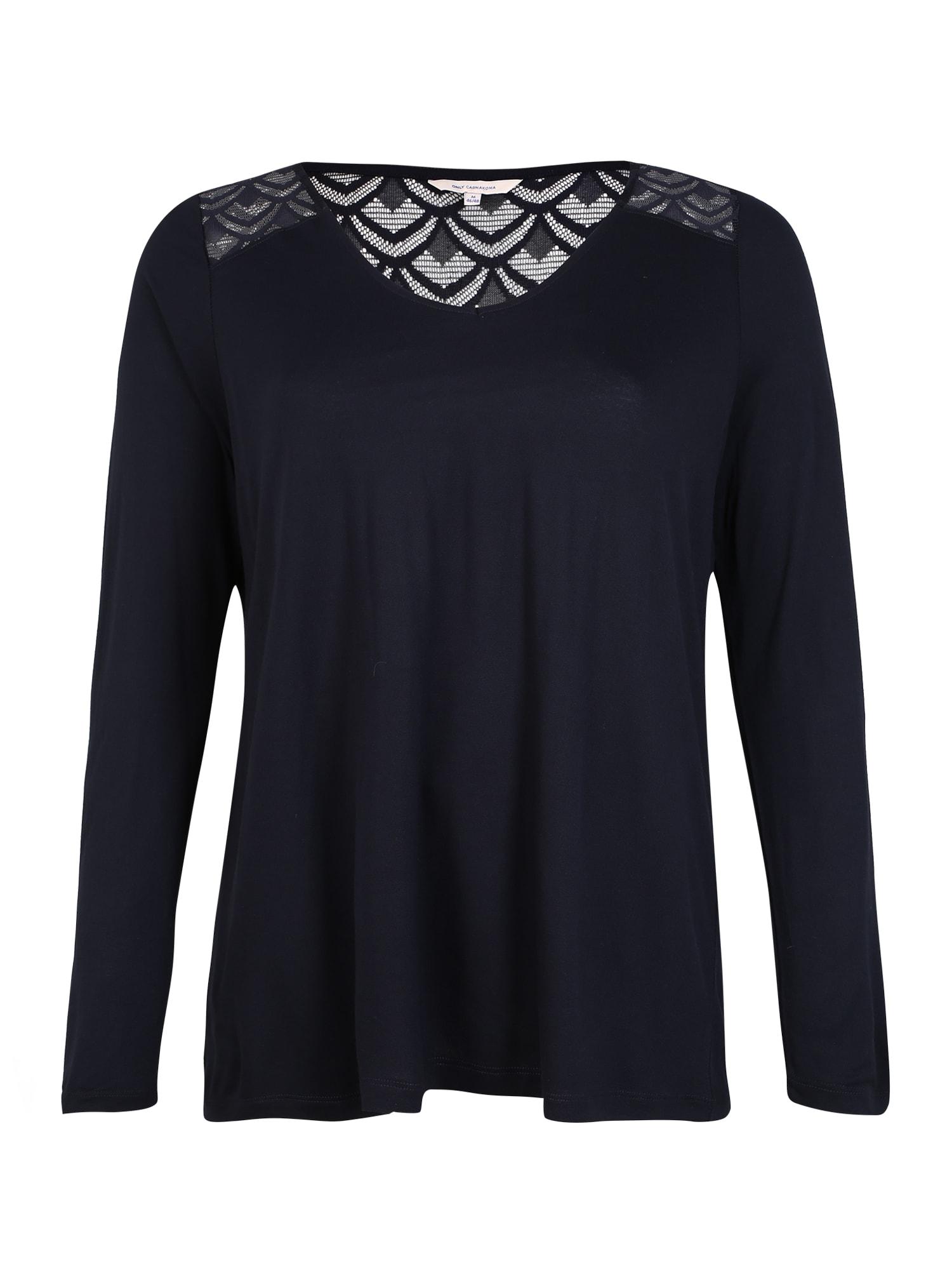 ONLY Carmakoma Marškinėliai 'CARFLAKE LS MIX TOP' nakties mėlyna