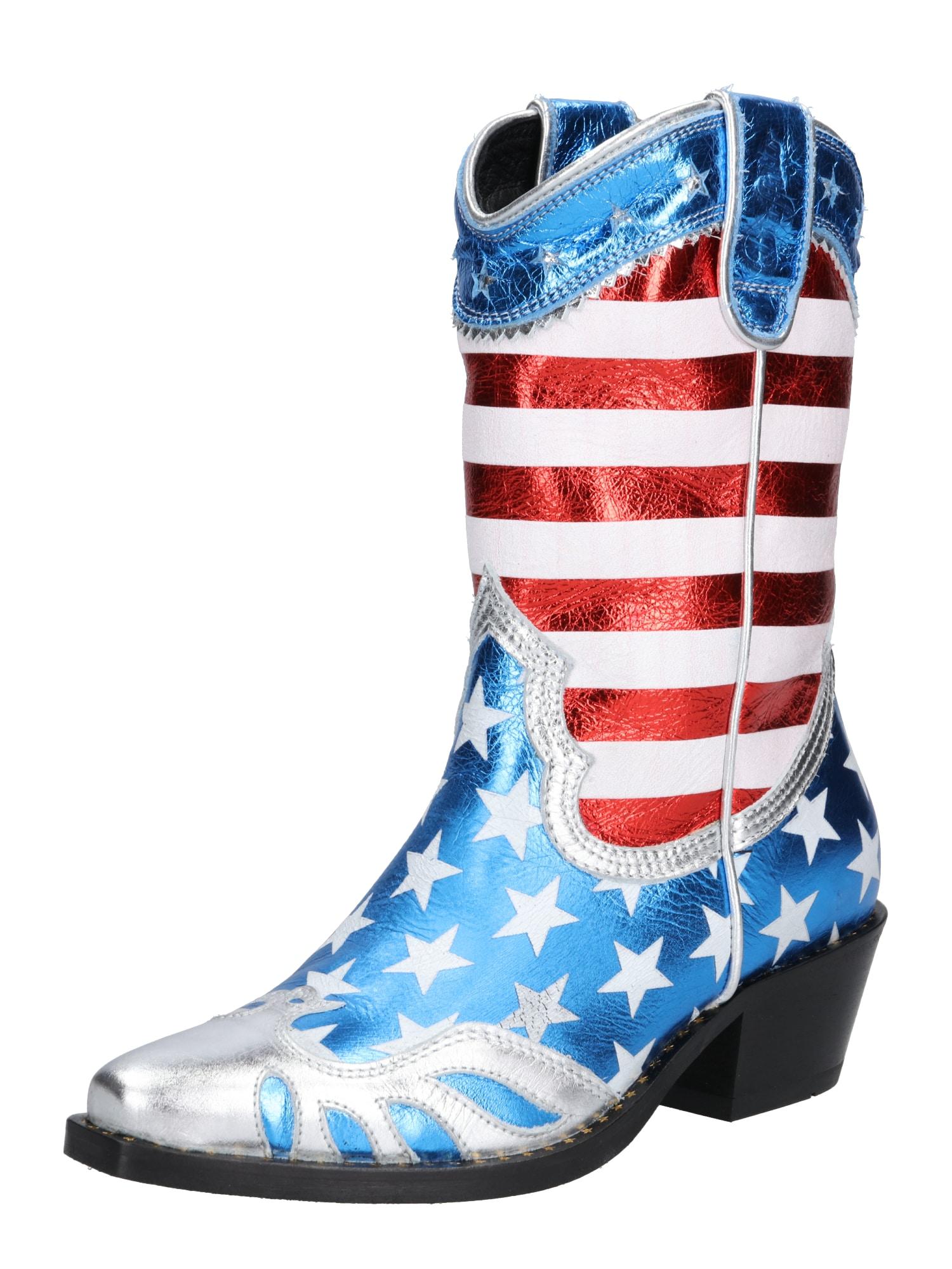 Kovbojské boty GERDA modrá červená bílá Buffalo London