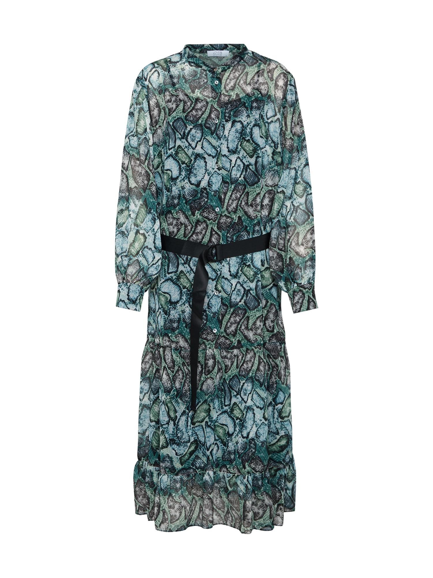 Šaty love259-1 šedá zelená bílá Love & Divine