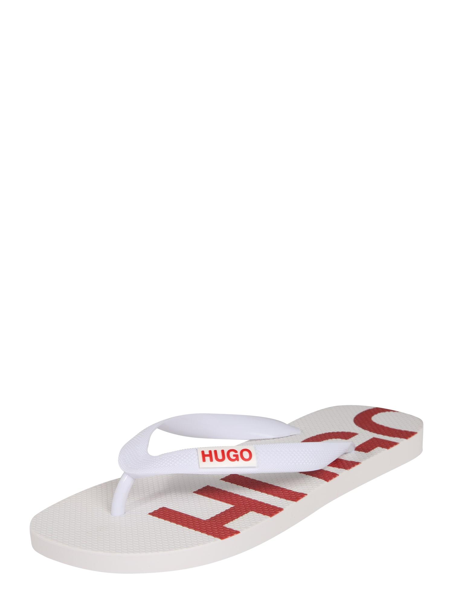 HUGO Šlepetės per pirštą balta / šviesiai raudona