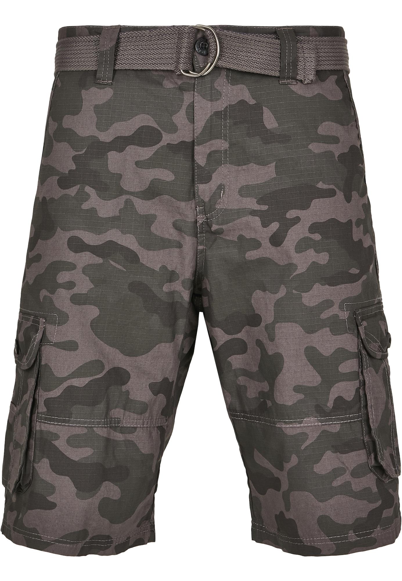 SOUTHPOLE Laisvo stiliaus kelnės tamsiai pilka / rausvai pilka / juoda