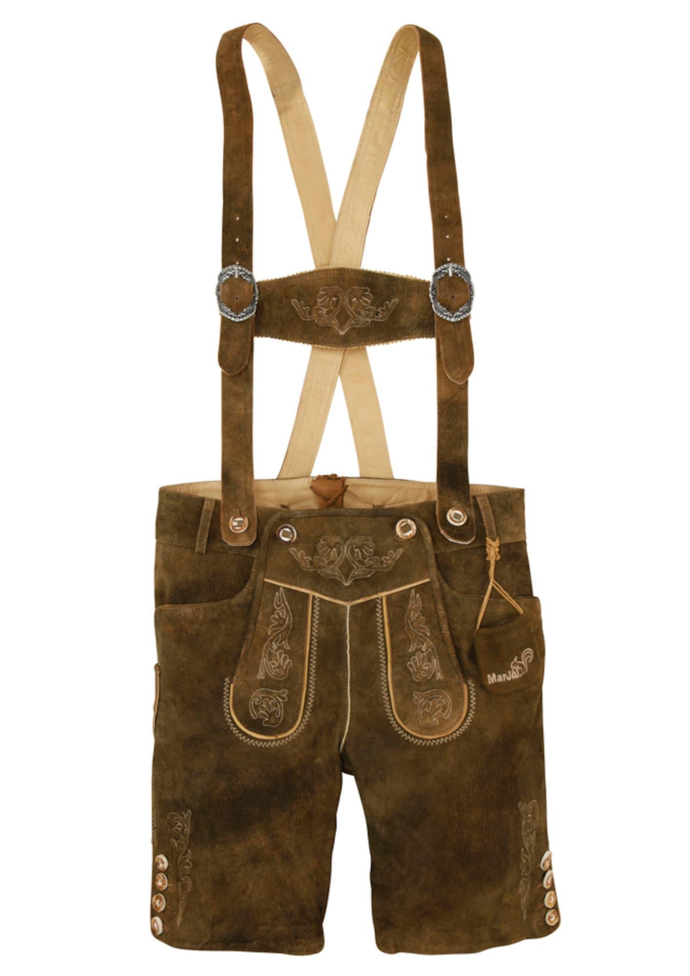 MARJO Kelnės su tradiciniais raštais šviesiai ruda