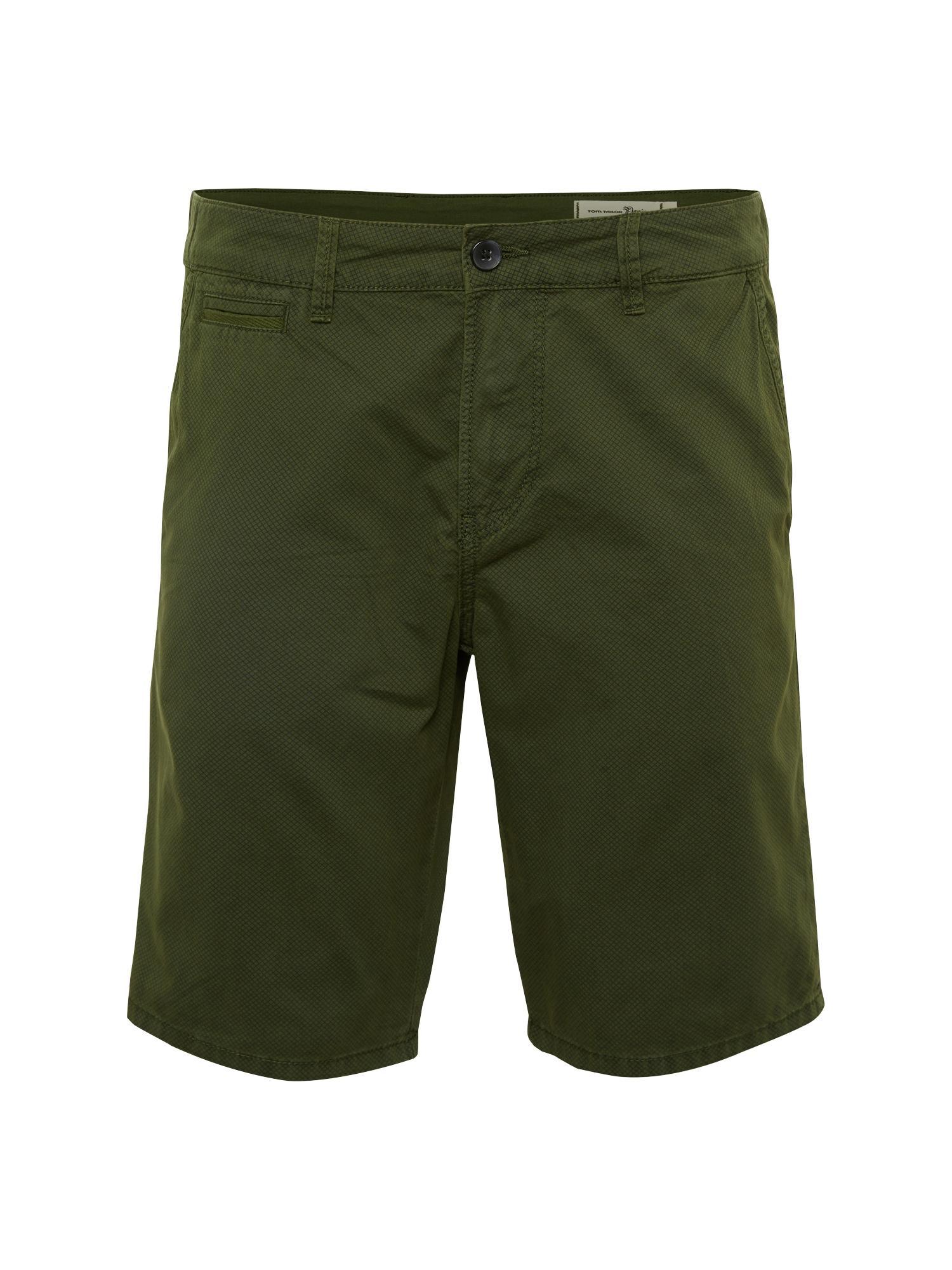 TOM TAILOR DENIM Pantaloni eleganți 'Slim Chino Shorts AOP'  verde iarbă