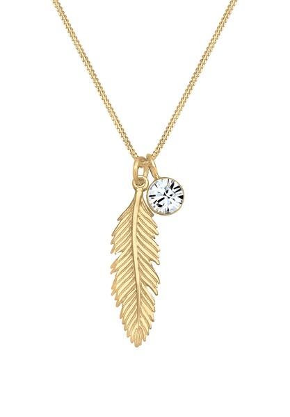 Ketten für Frauen - ELLI Halskette 'Boho, Feder, Solitär' gold  - Onlineshop ABOUT YOU