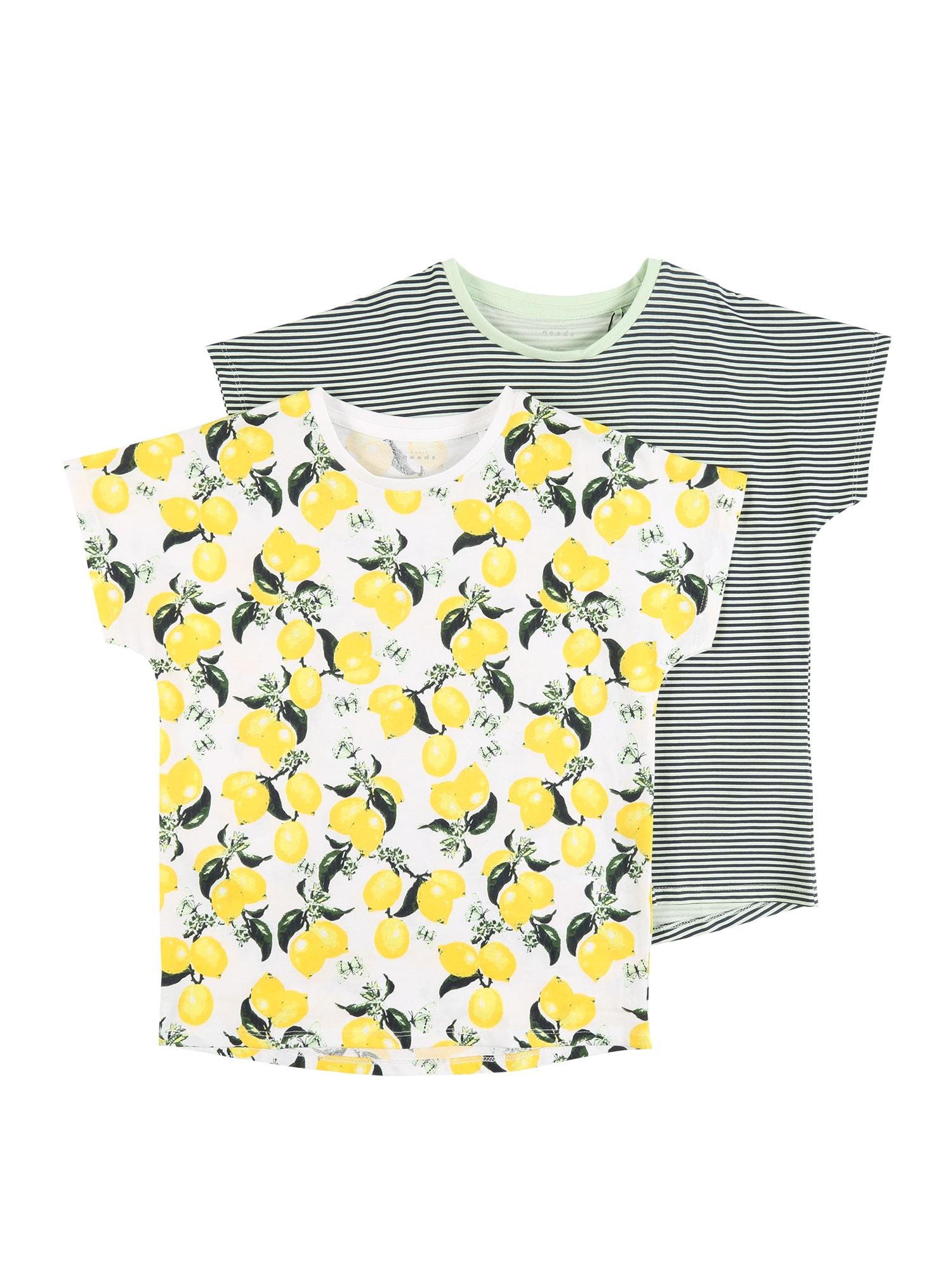 NAME IT Marškinėliai 'NKFVIGGA' pilka / geltona