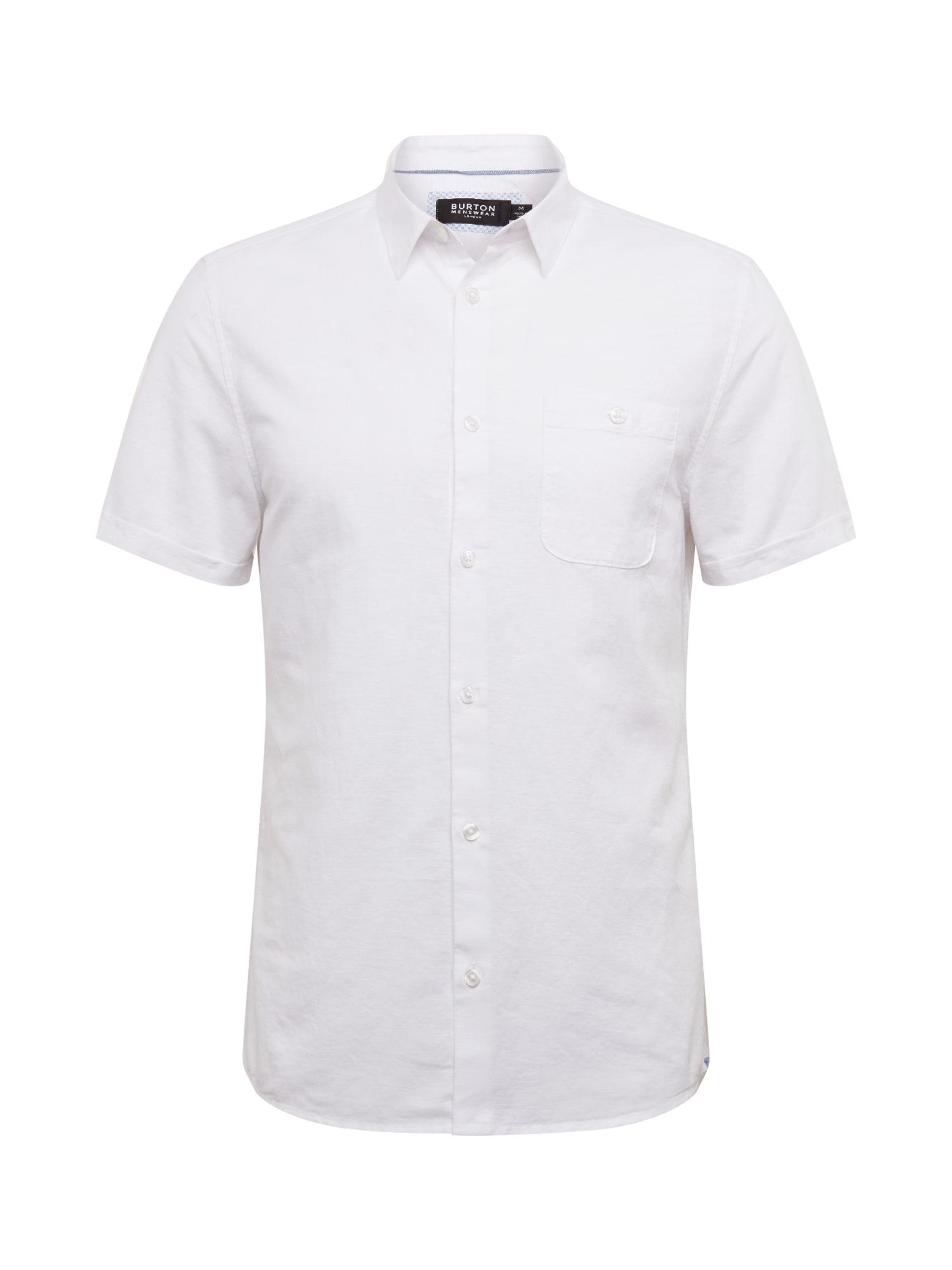 BURTON MENSWEAR LONDON Košeľa 'WHITE LINEN'  biela