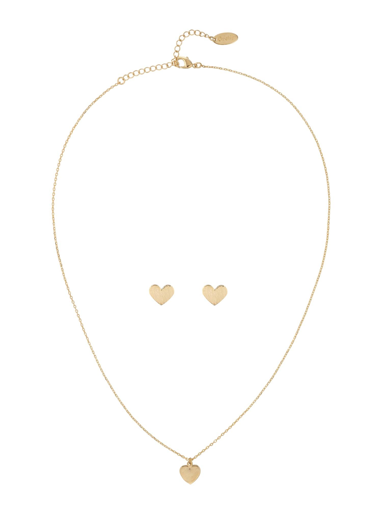 Schmucksets für Frauen - Orelia Schmuck Set 'Brushed Heart Giftbox' gold  - Onlineshop ABOUT YOU