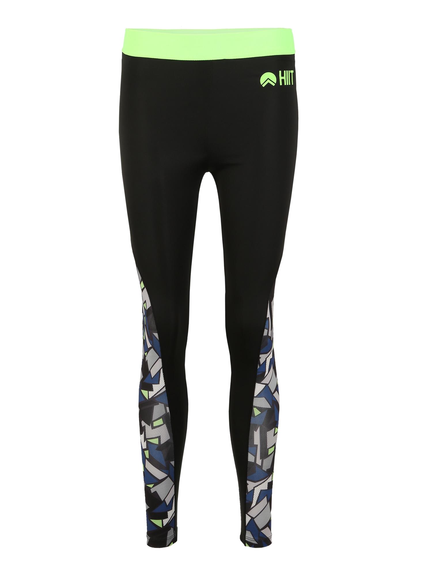 HIIT Sportinės kelnės 'abstract geo' juoda / neoninė žalia