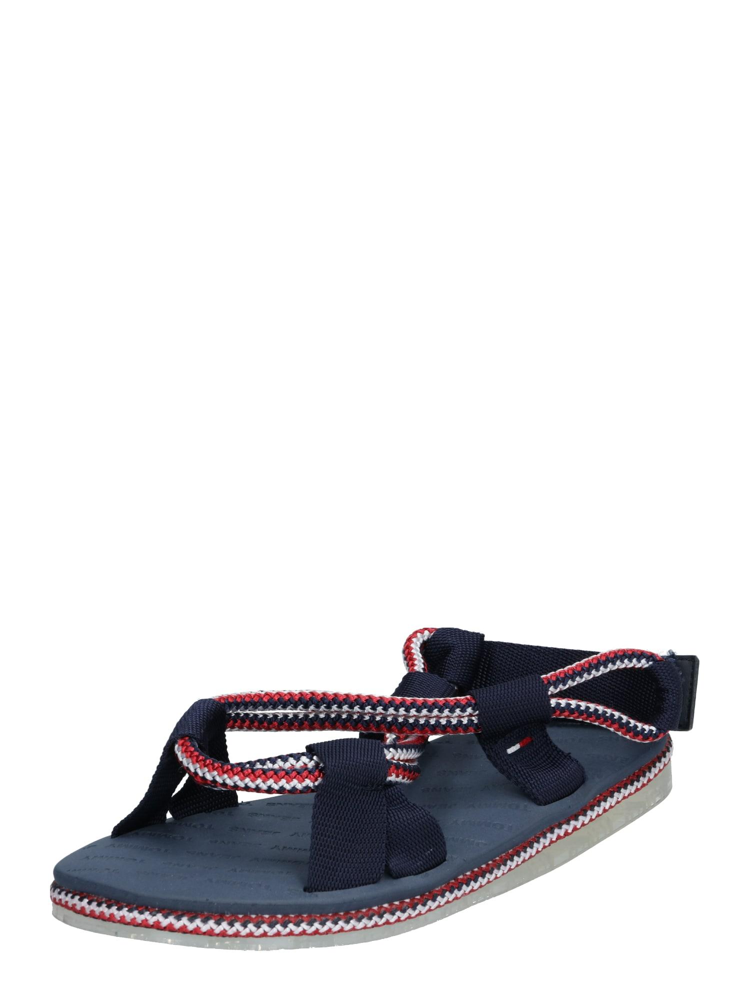 Tommy Jeans Basutės su dirželiais raudona / tamsiai mėlyna