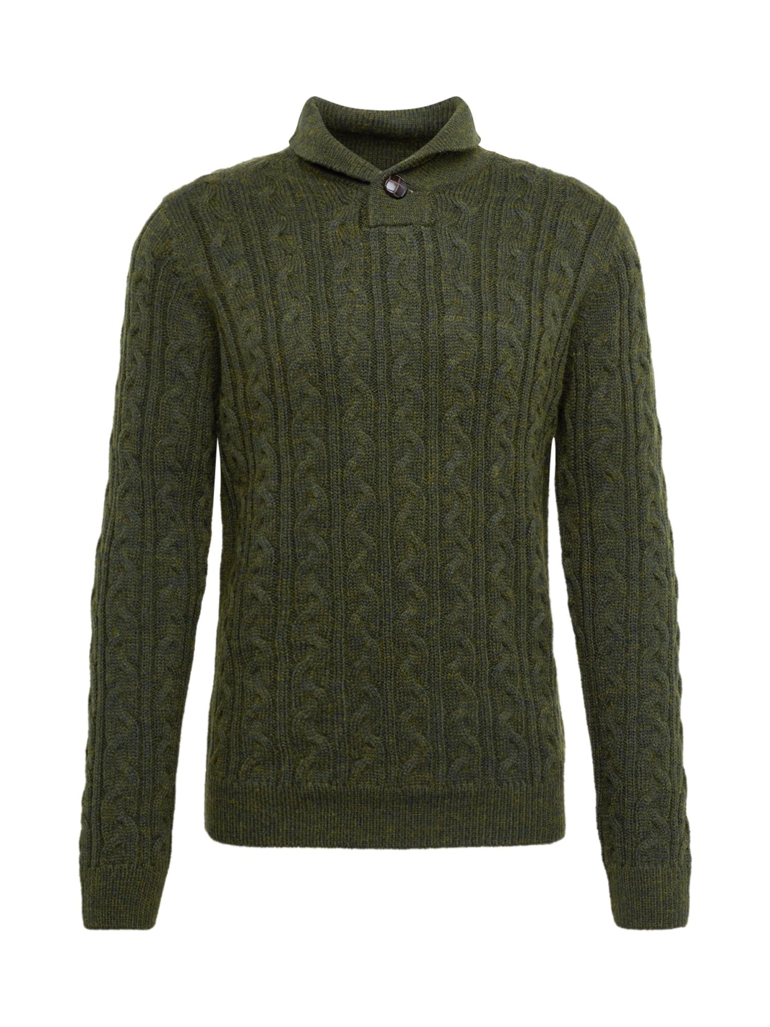 BURTON MENSWEAR LONDON Megztinis rusvai žalia