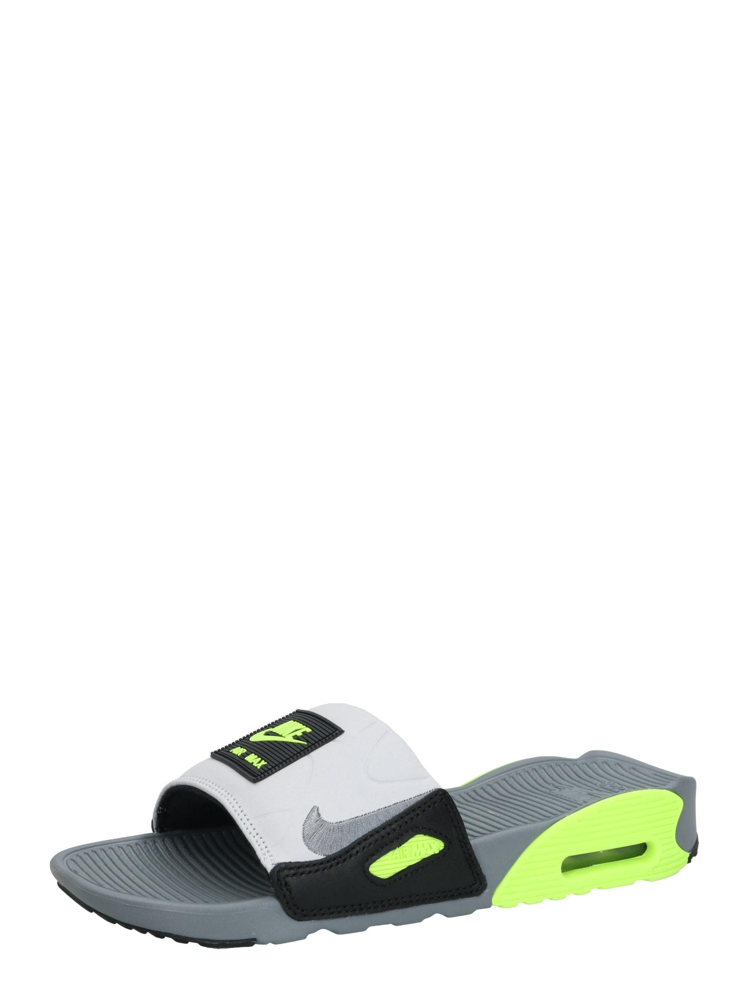 Nike Sportswear Sandalai / maudymosi batai 'Nike Air Max 90' pilka / juoda / neoninė žalia