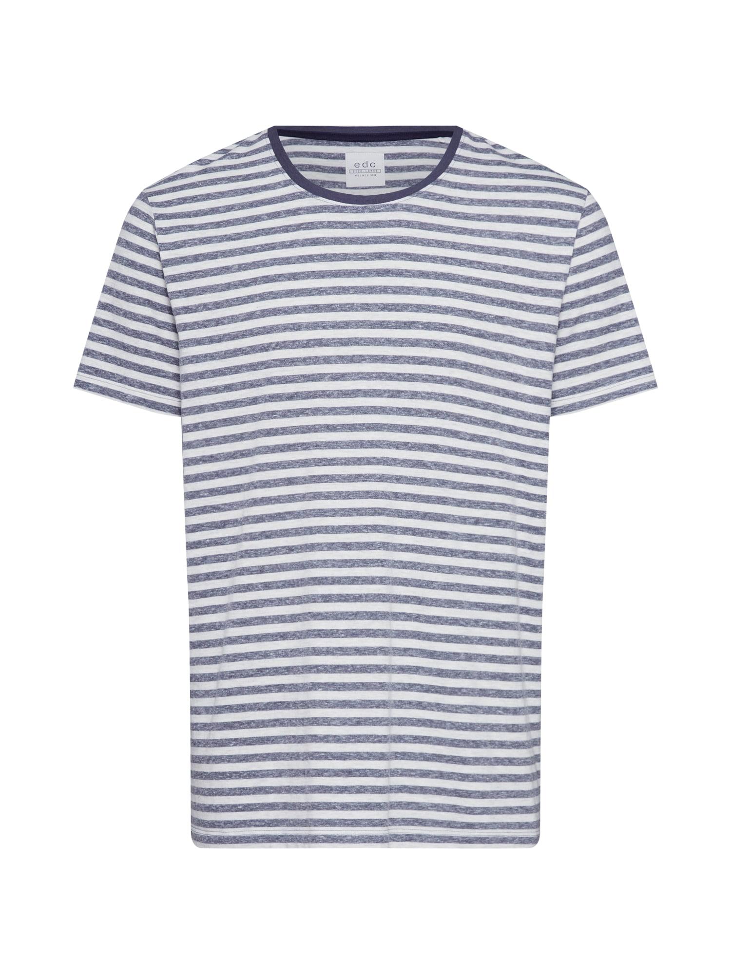 EDC BY ESPRIT Marškinėliai tamsiai mėlyna / balta