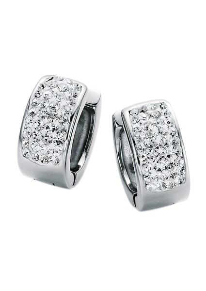 Ohrringe für Frauen - FIRETTI Ohrschmuck Paar Creolen 'white' mit Kristallsteinen grau  - Onlineshop ABOUT YOU