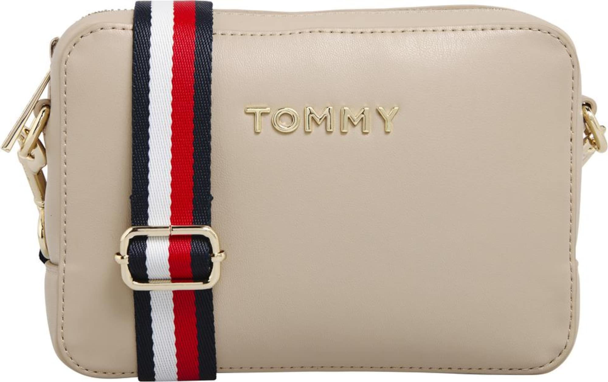 TOMMY HILFIGER Taška cez rameno  béžová / červené / biela / zlatá / námornícka modrá