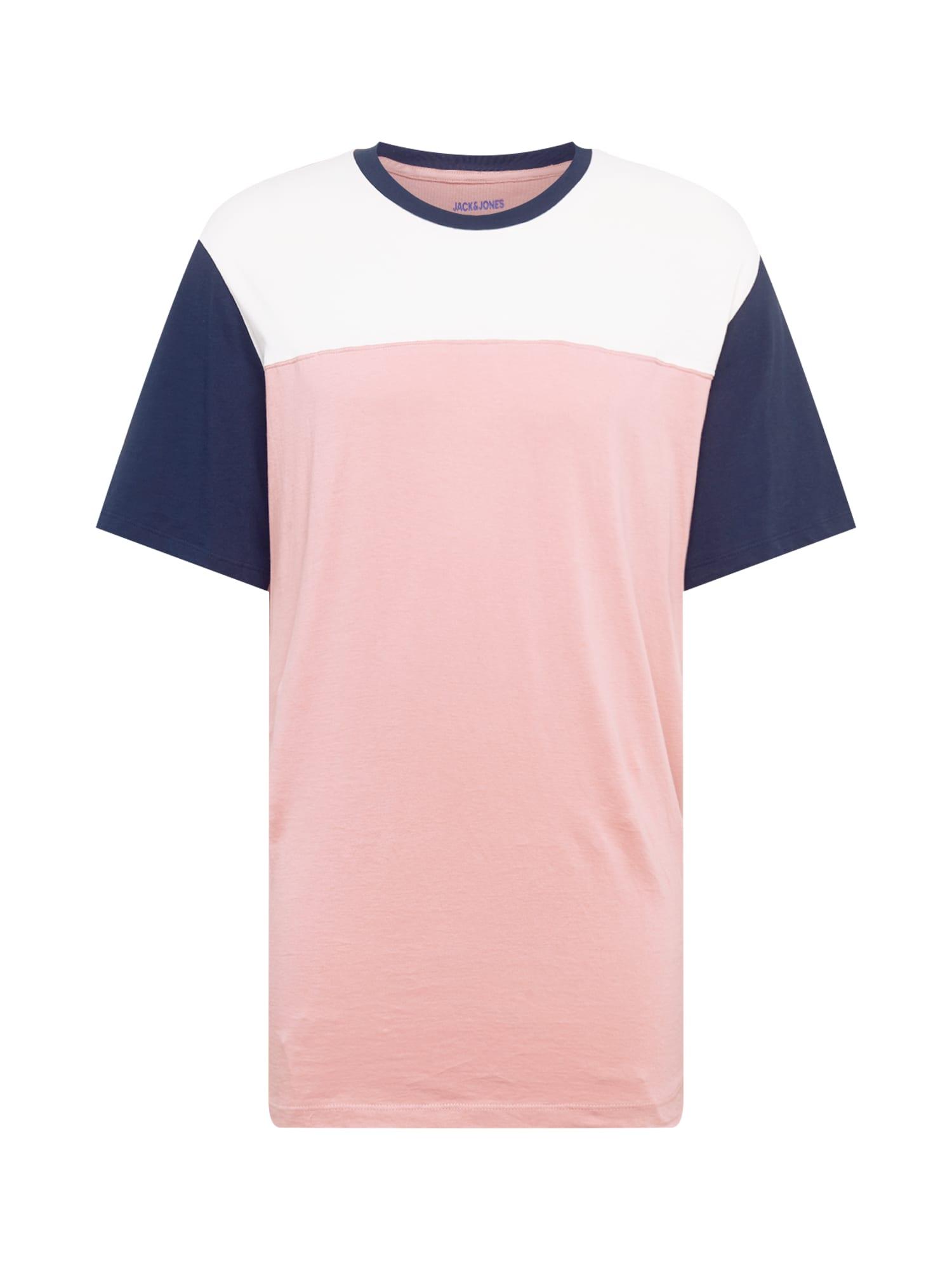Jack & Jones Plus Marškinėliai balta / rožių spalva / tamsiai mėlyna