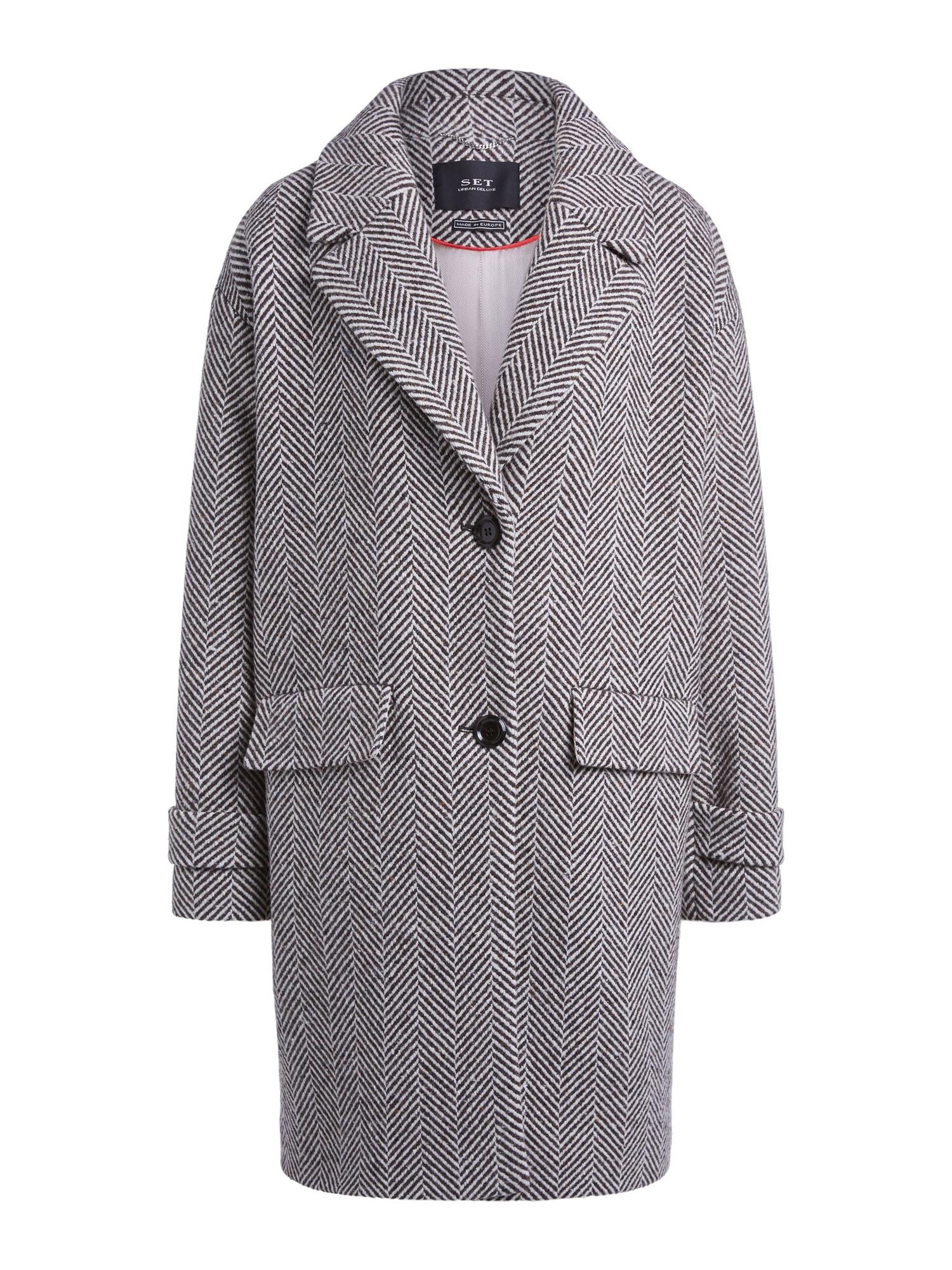 SET Demisezoninis paltas pilka / balta