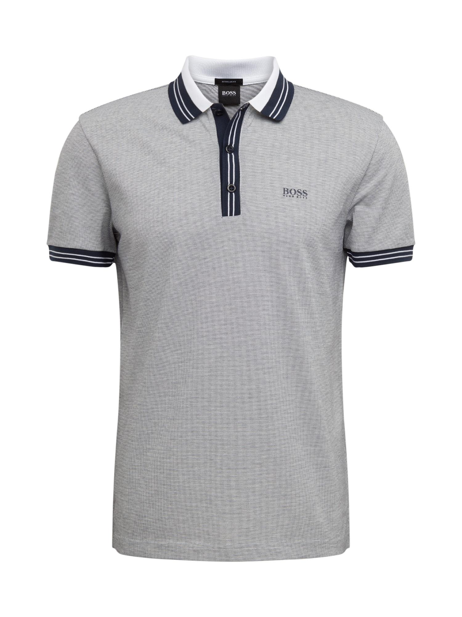 BOSS ATHLEISURE Marškinėliai 'Paddy 2' pilka / tamsiai mėlyna