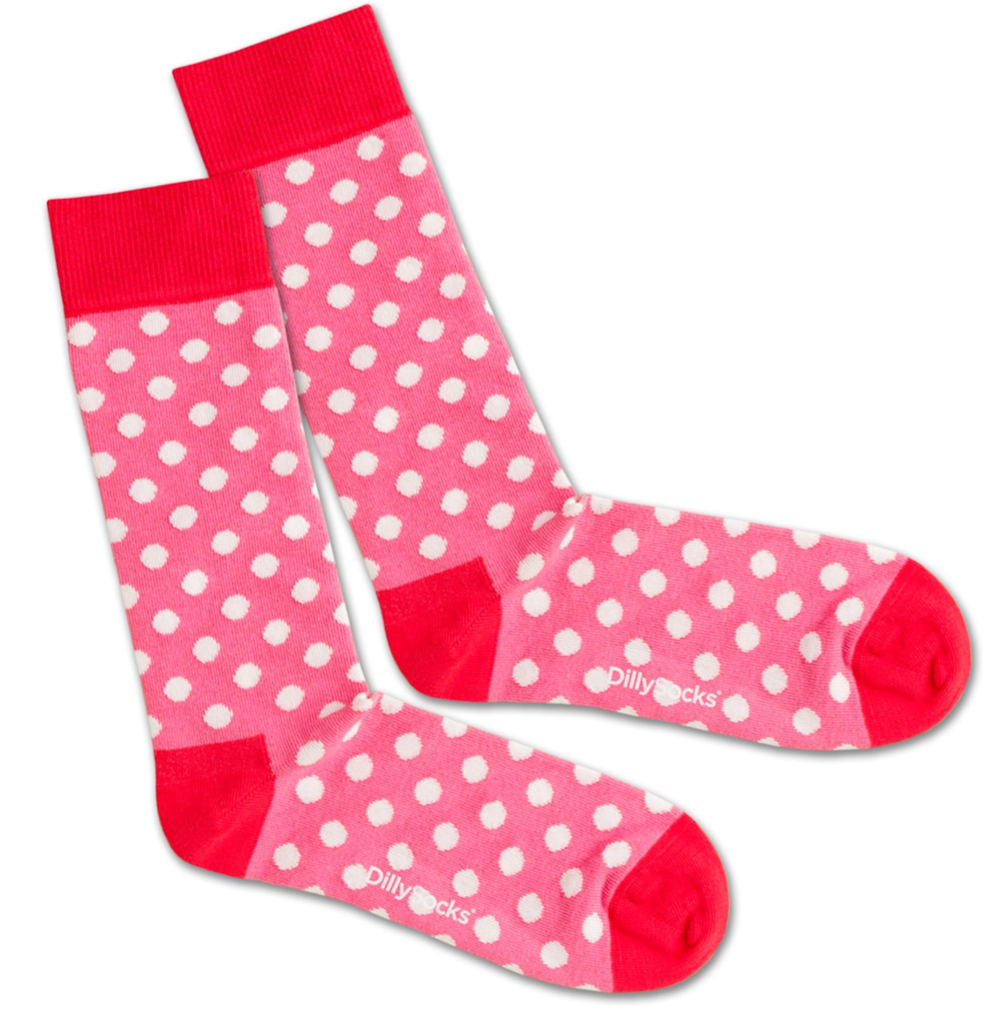 Ponožky Pinky Dots pink červená bílá DillySocks