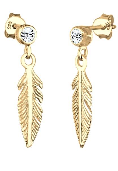 Ohrringe für Frauen - ELLI Ohrringe 'Boho, Feder, Solitär Ohrring' gold  - Onlineshop ABOUT YOU