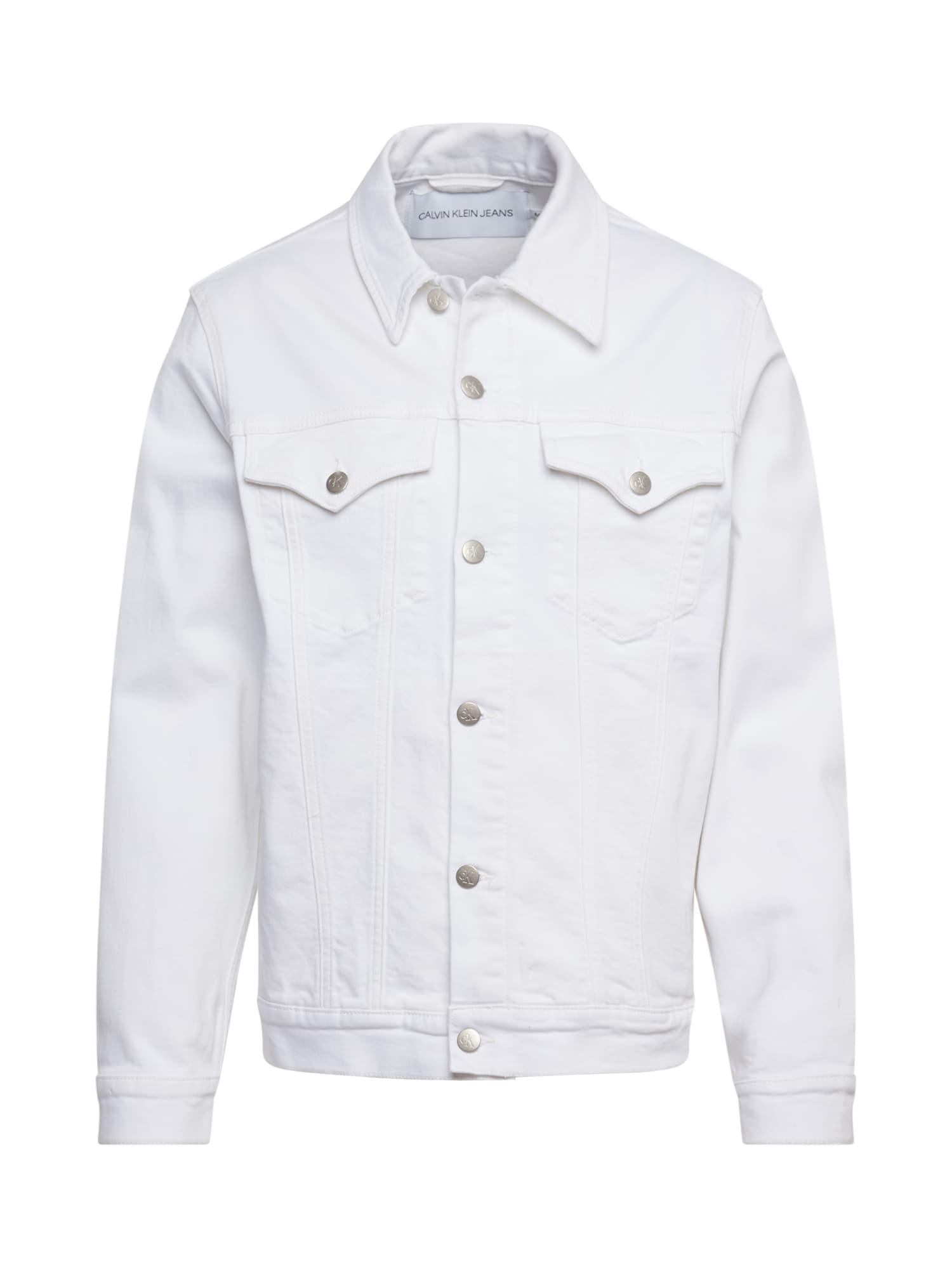 Calvin Klein Jeans Demisezoninė striukė 'FOUNDATION SLIM DENIM JACKET' balto džinso spalva