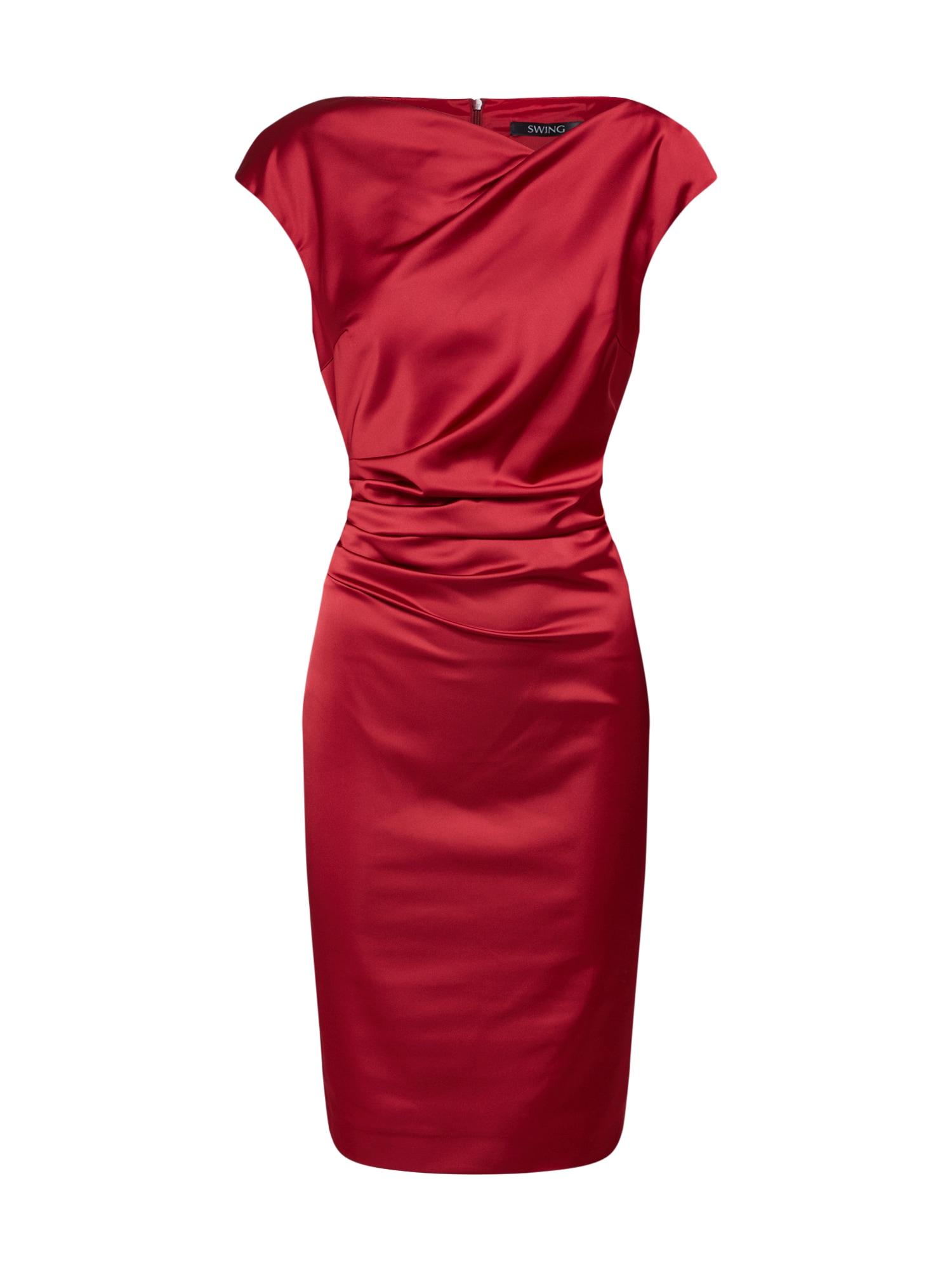 SWING Trumpa kokteilinė suknelė vyno raudona spalva