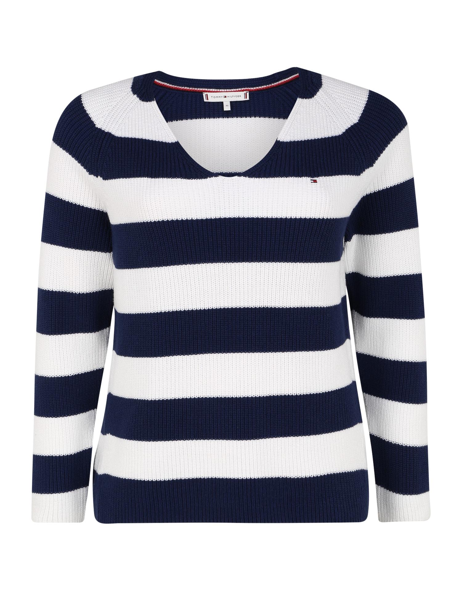 Tommy Hilfiger Curve Megztinis 'HAYANA' balta / mėlyna