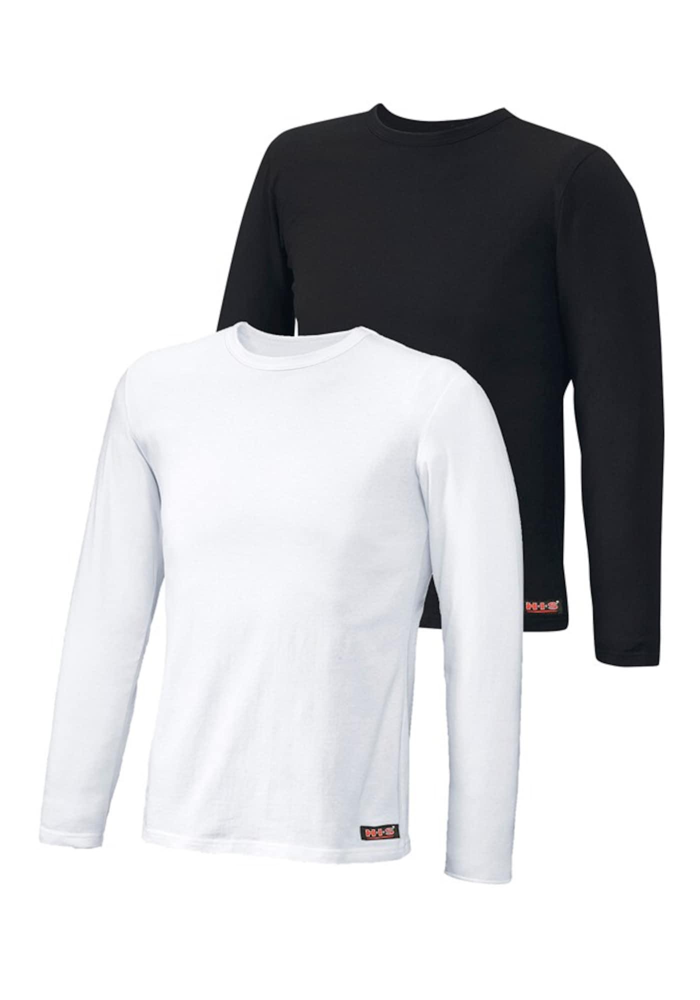 H.I.S Apatiniai marškinėliai juoda / balta