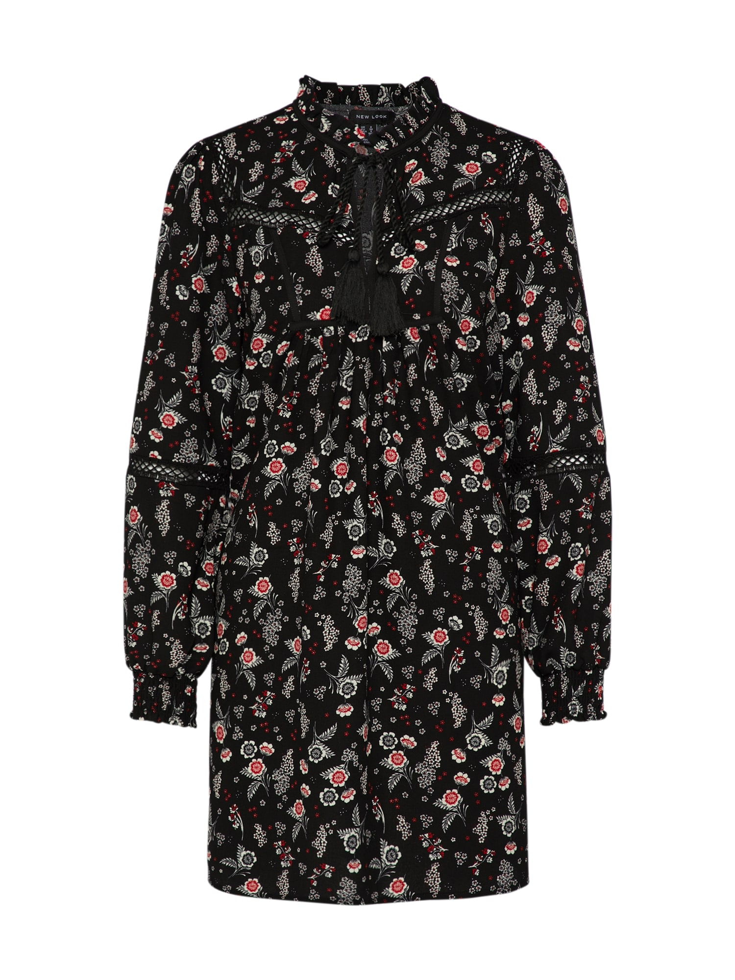 Damen NEW LOOK Kleid IDA TASSLE TRIM SMOCK schwarz   05045535749449