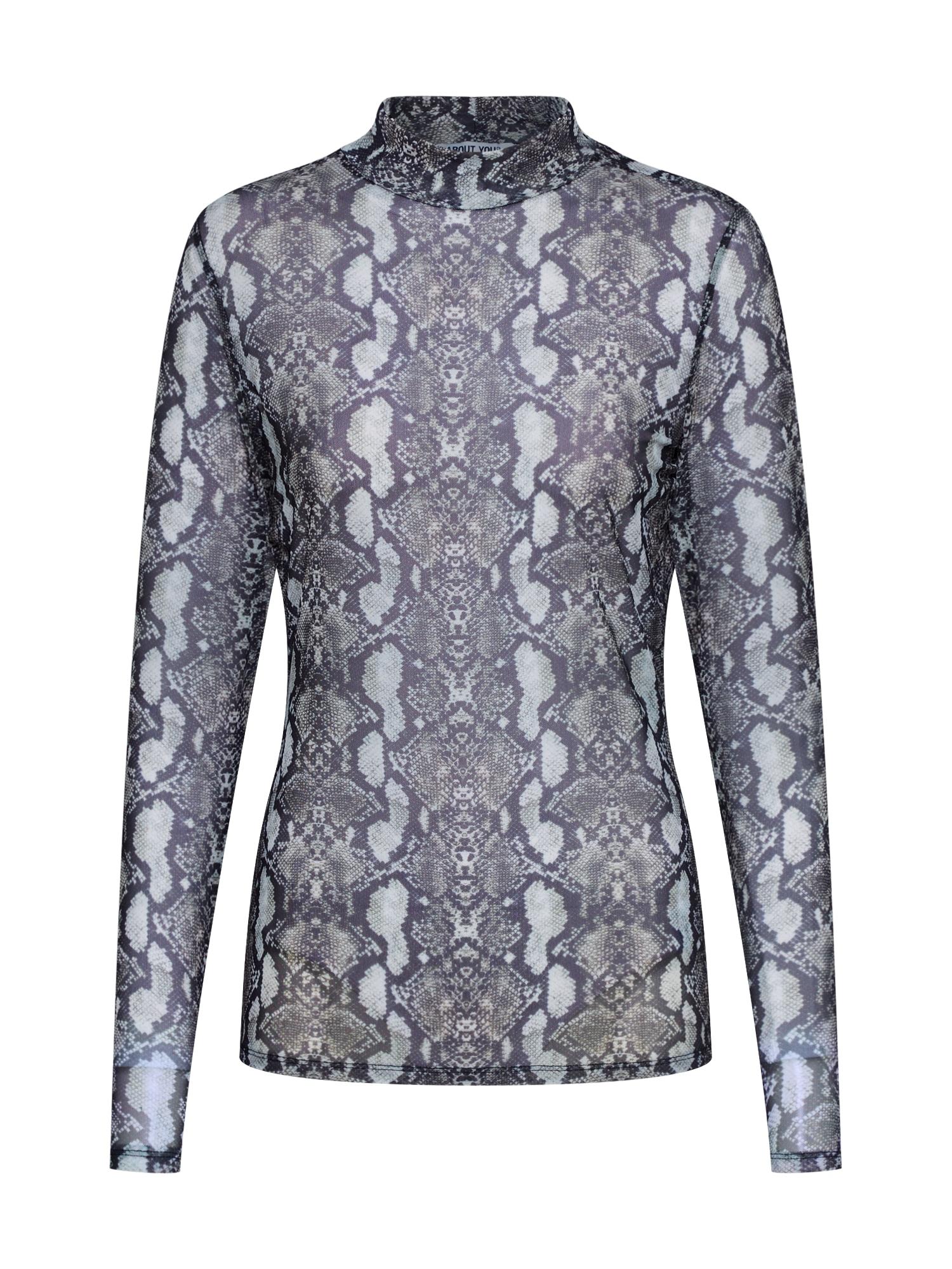 ABOUT YOU Marškinėliai 'Esther Shirt' pilka / juoda