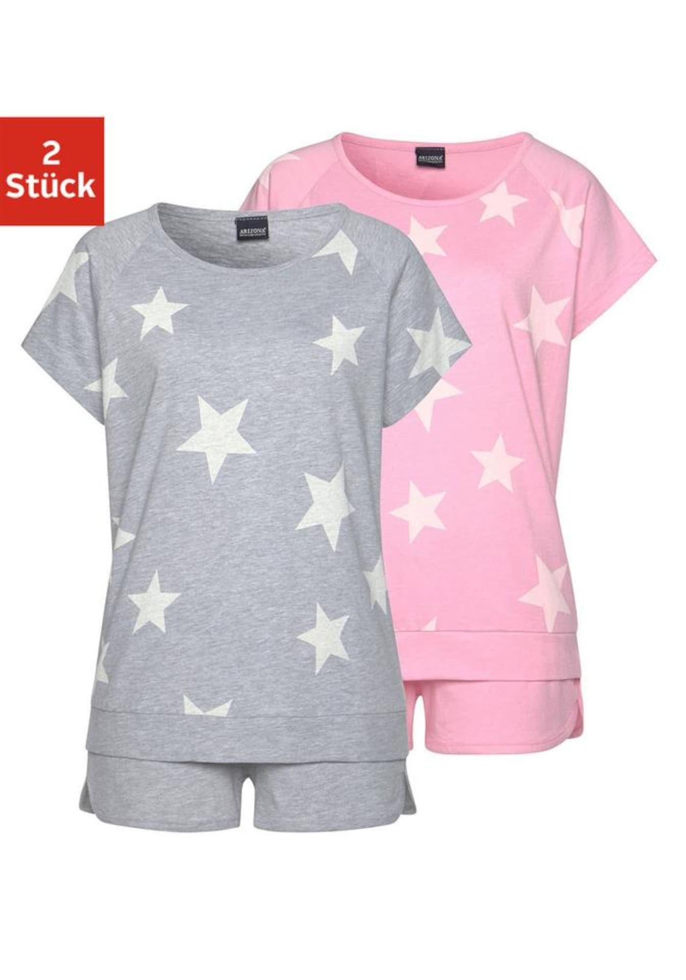 ARIZONA Pyžamo  šedá / růžová / bílá