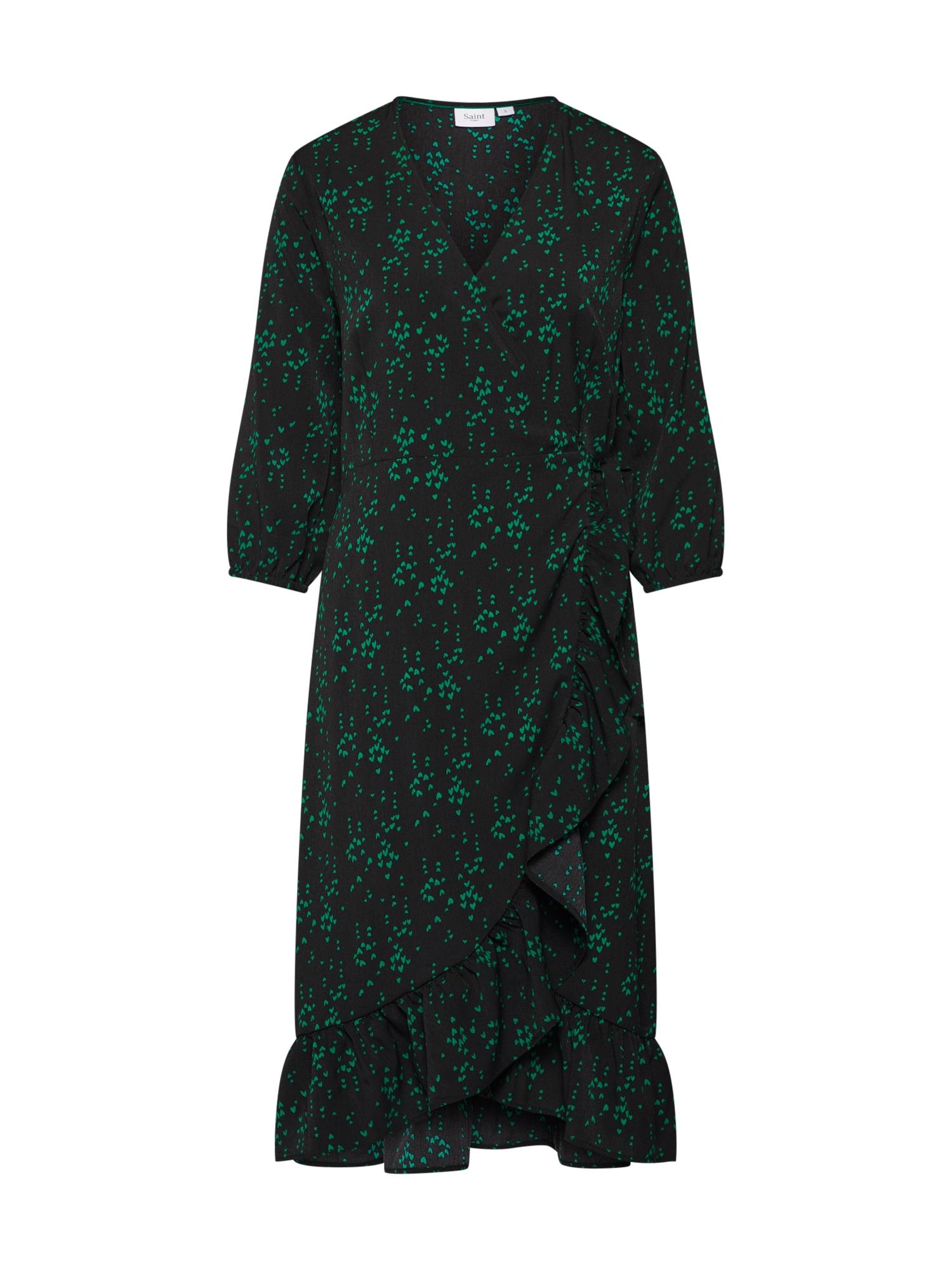 Šaty WOVEN DRESS 34 SLEEVE tmavě zelená černá SAINT TROPEZ