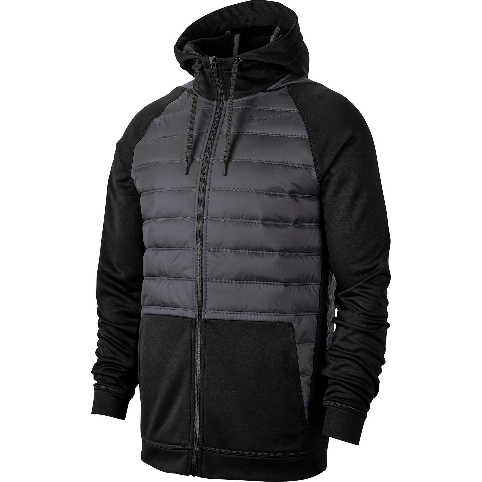 NIKE Sportovní bunda 'Therma'  čedičová šedá / černá