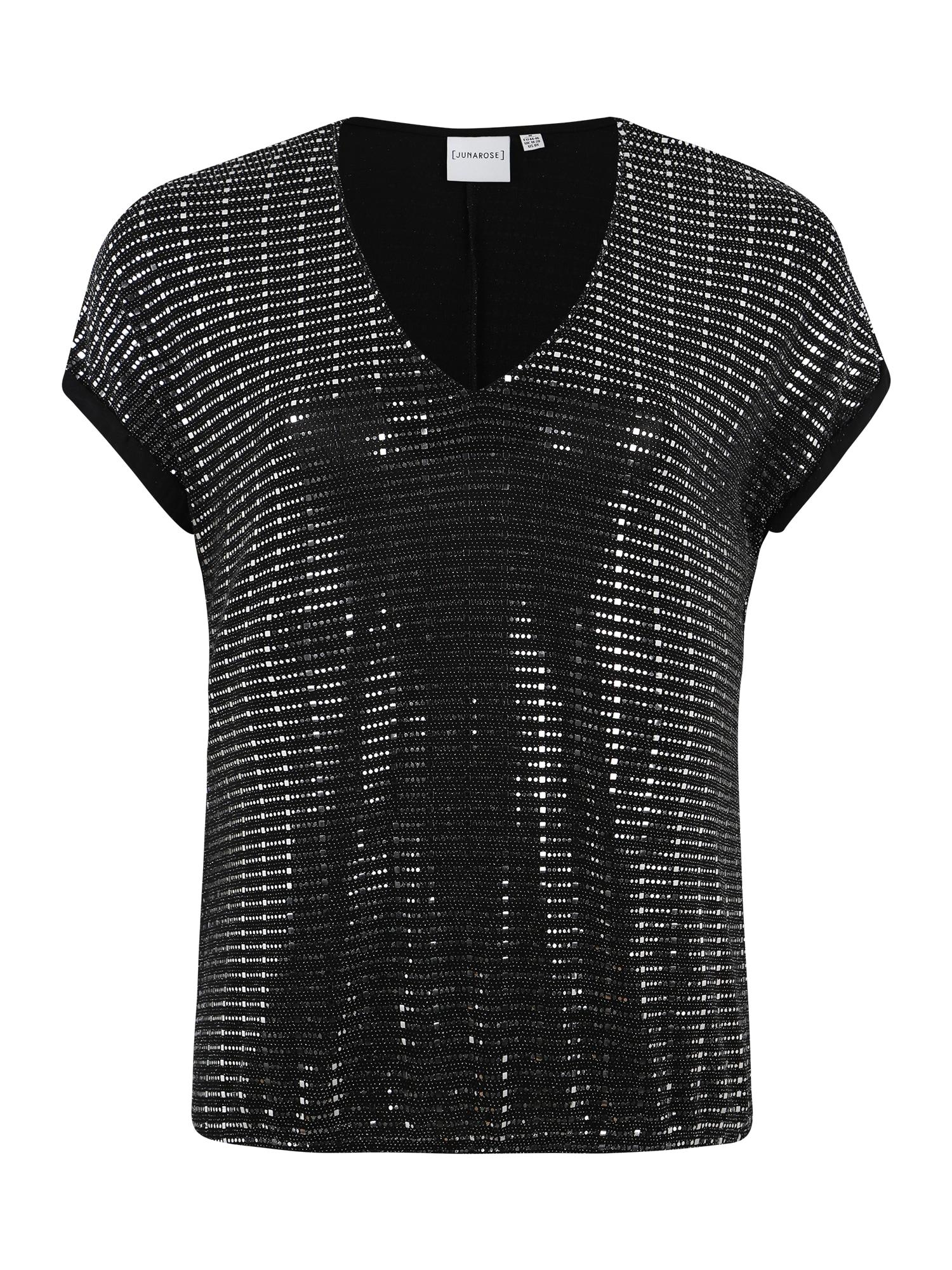 Junarose Marškinėliai 'JRIRUK' sidabro pilka / juoda