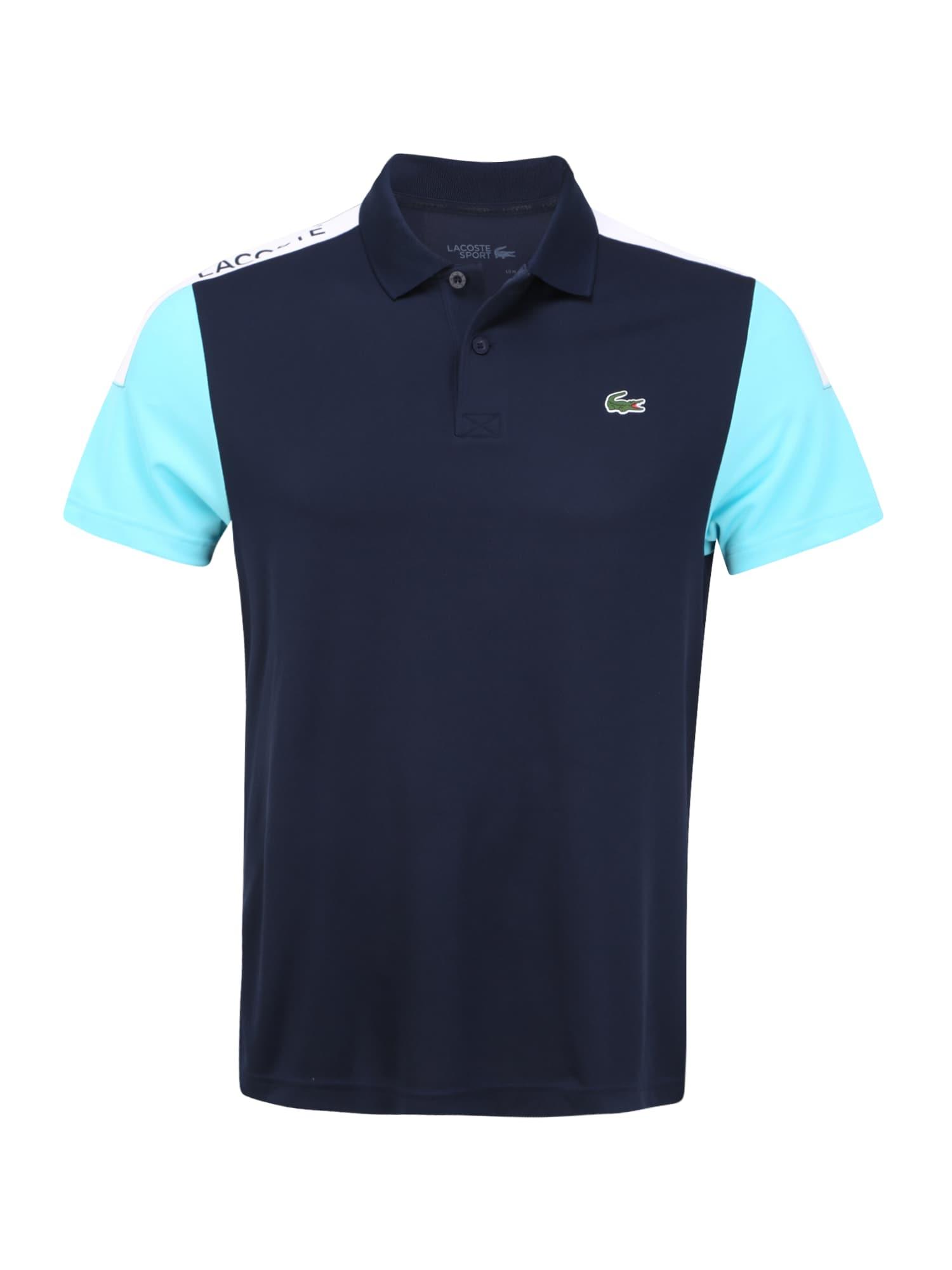 Lacoste Sport Sportiniai marškinėliai balta / tamsiai mėlyna jūros spalva / turkio spalva