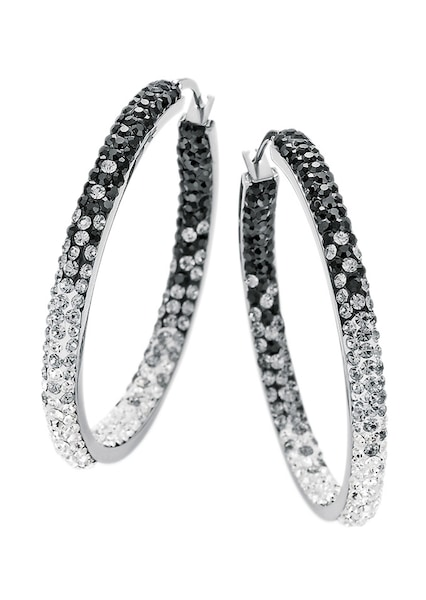 Ohrringe für Frauen - FIRETTI Ohrschmuck Paar Creolen 'black white' mit Kristallsteinen silber  - Onlineshop ABOUT YOU