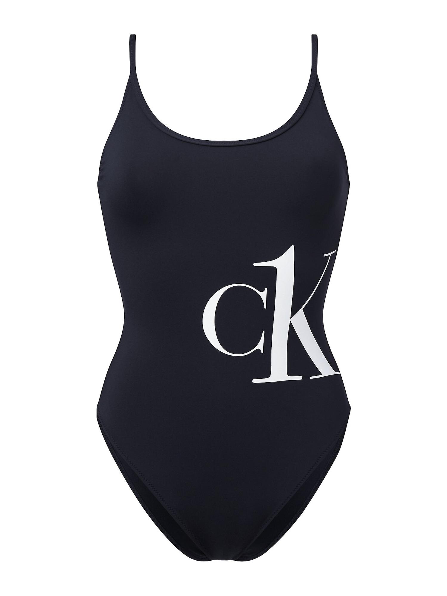 Calvin Klein Swimwear Maudymosi kostiumėlis balta / juoda
