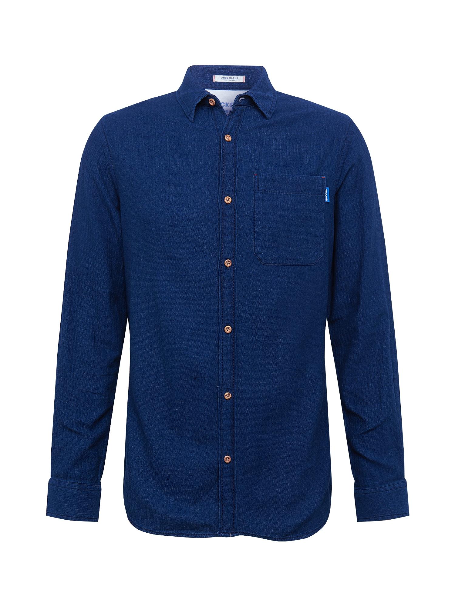 JACK & JONES Dalykiniai marškiniai 'JORJAQUES' tamsiai (džinso) mėlyna