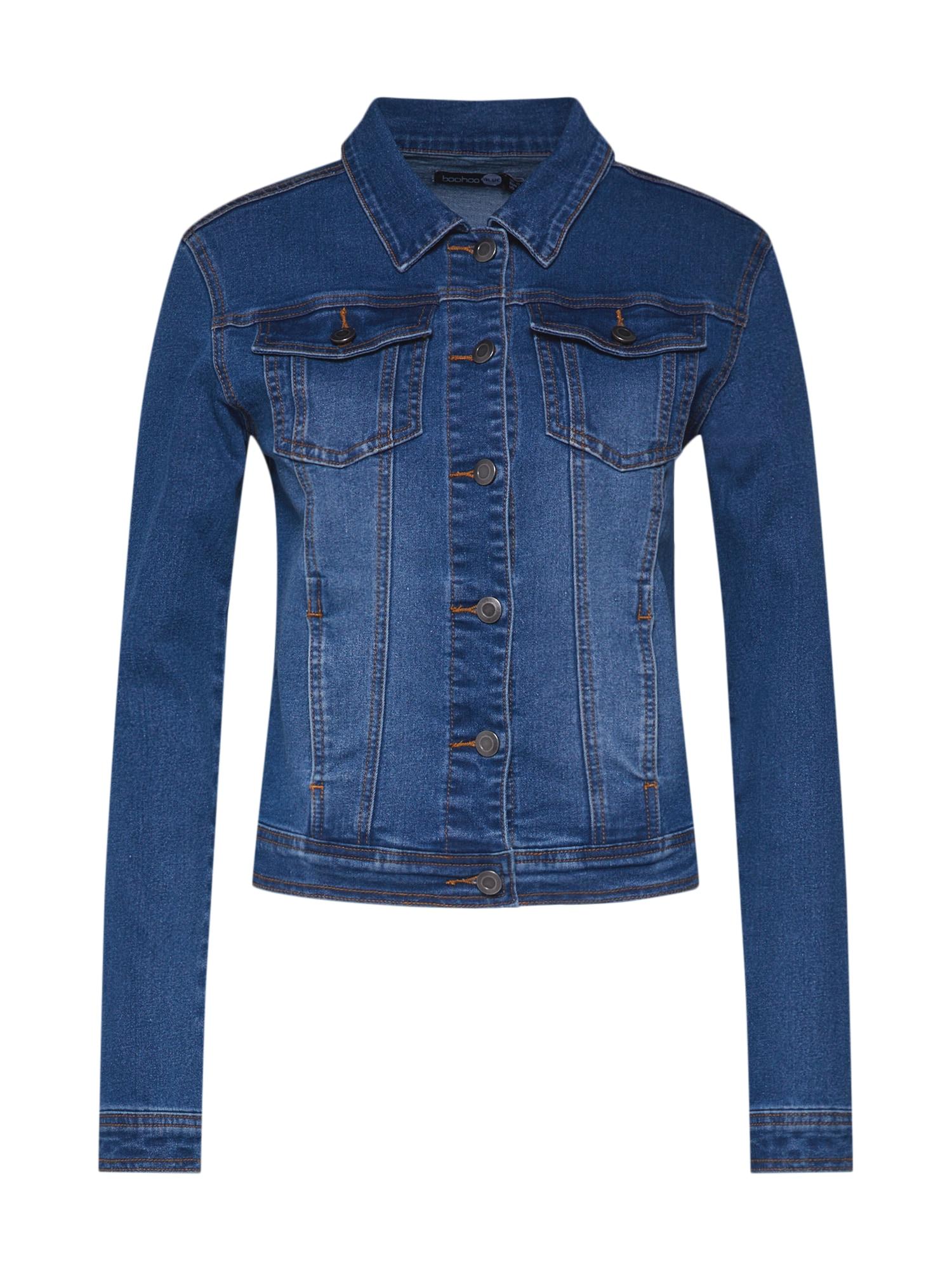 Přechodná bunda modrá džínovina Boohoo