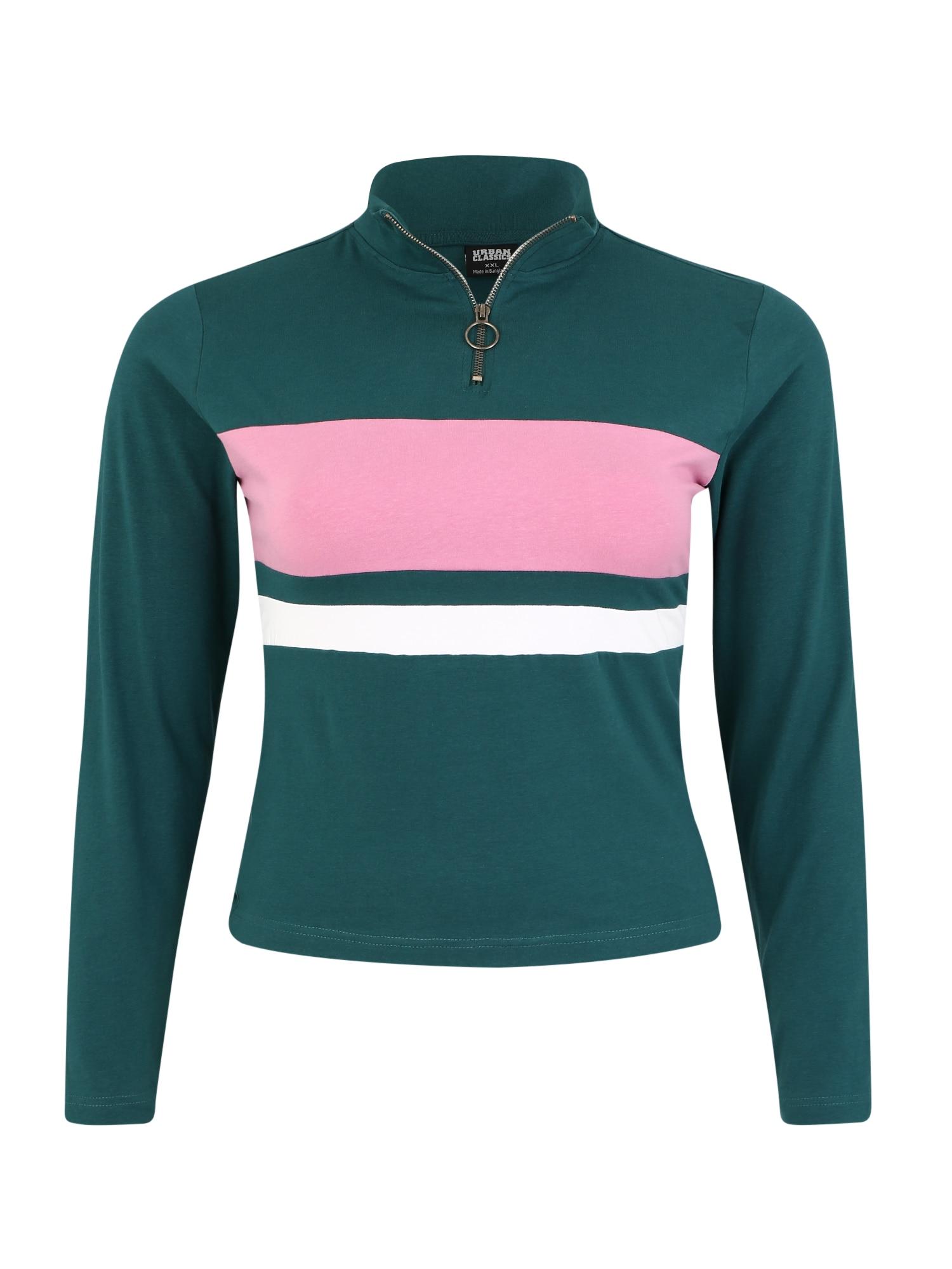 Urban Classics Curvy Marškinėliai benzino spalva / rožių spalva / balta