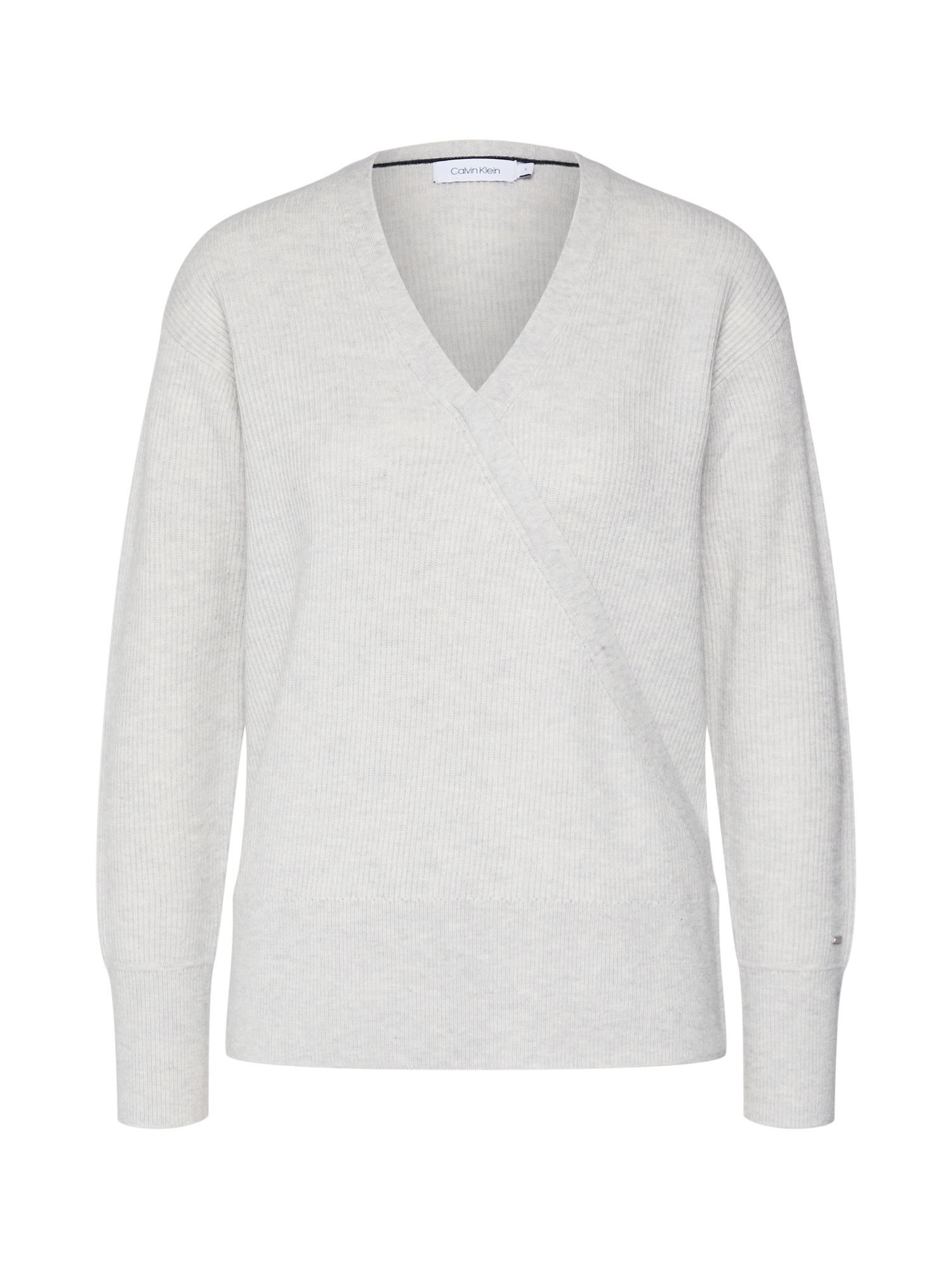 Calvin Klein Megztinis 'LS WRAP' šviesiai pilka