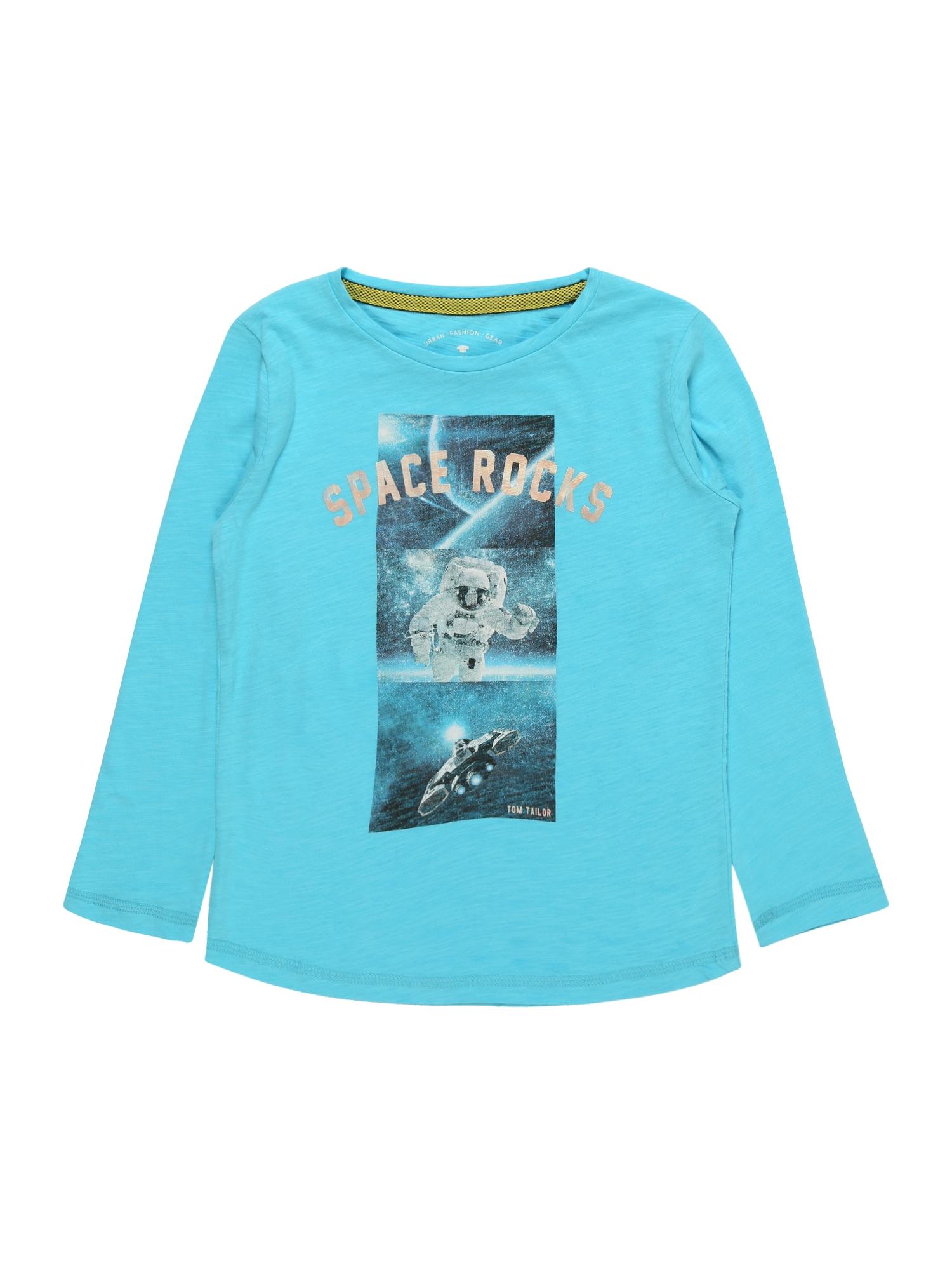 TOM TAILOR Tričko 'T-shirt placed print'  námornícka modrá / tyrkysová