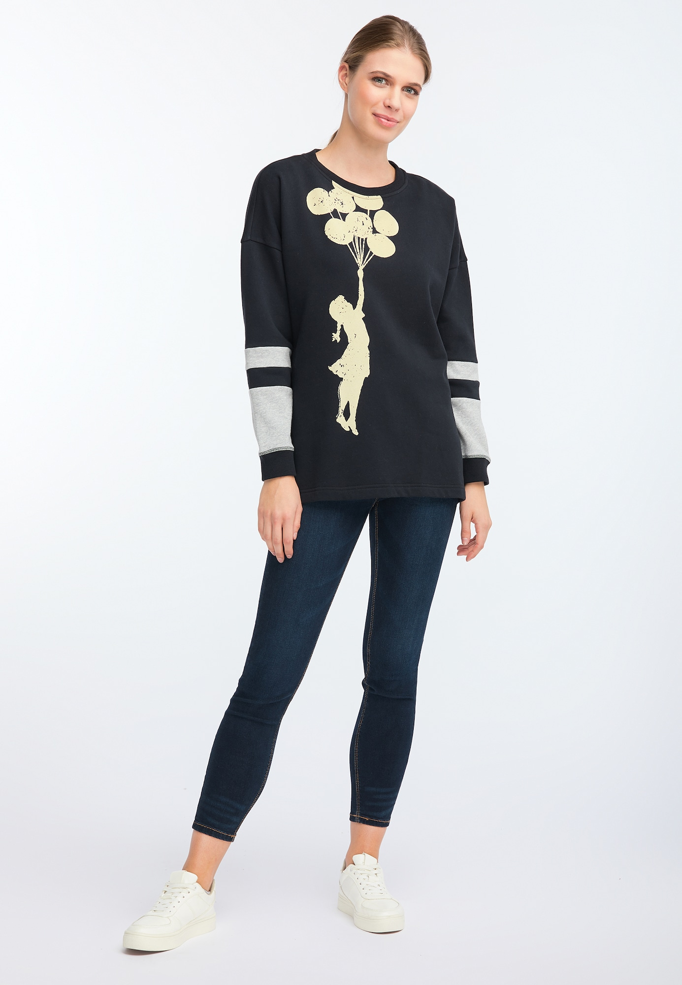HOMEBASE, Damen Sweatshirt, beige / grijs / zwart