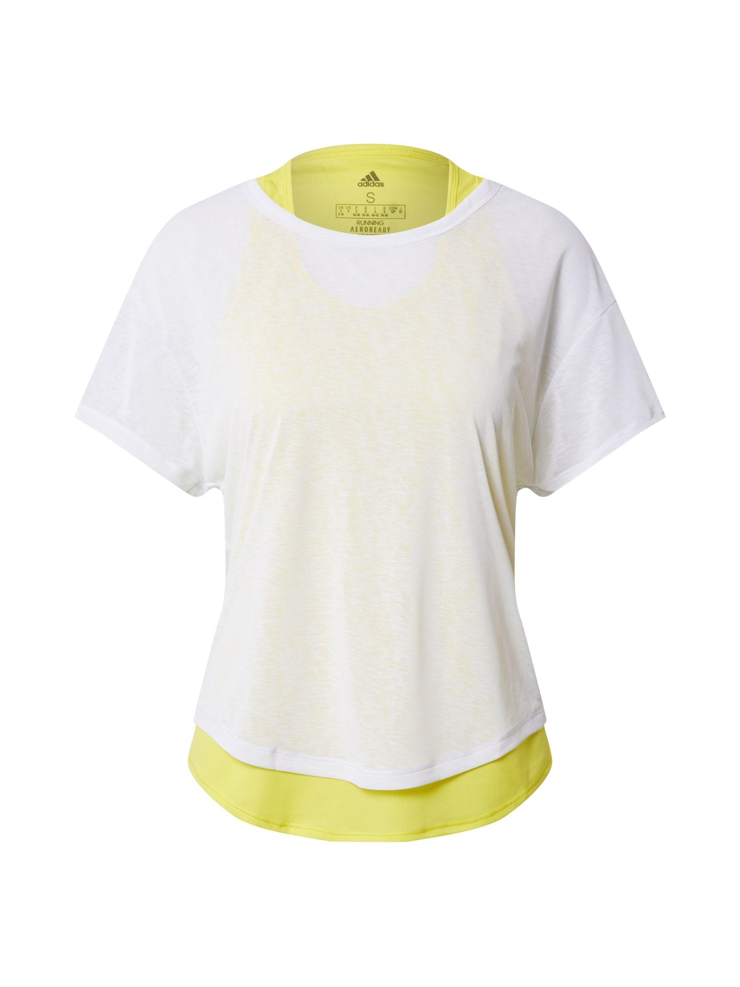 ADIDAS PERFORMANCE Sportiniai marškinėliai balta / neoninė žalia