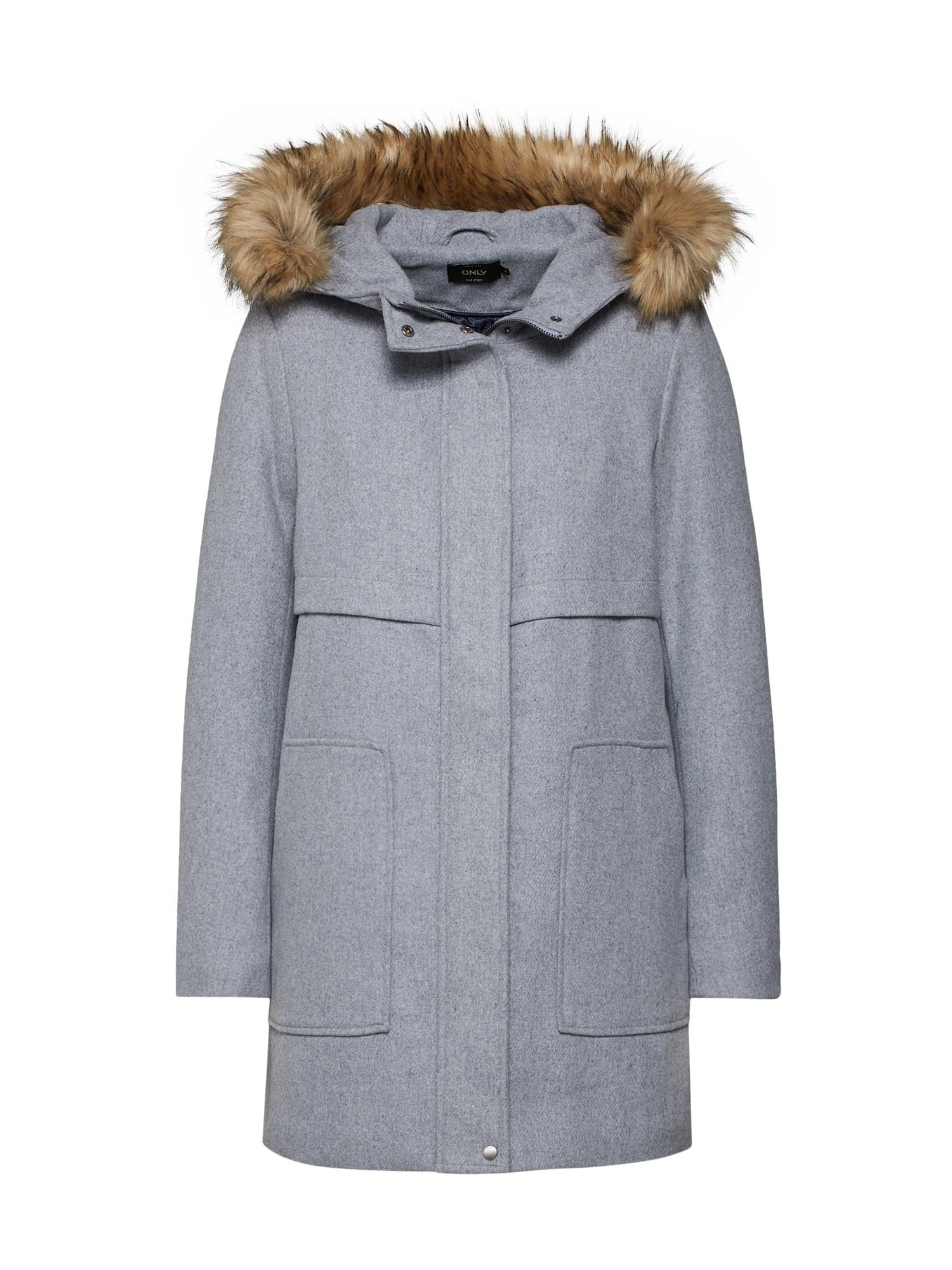 Zimní kabát onlNOAH světle šedá ONLY