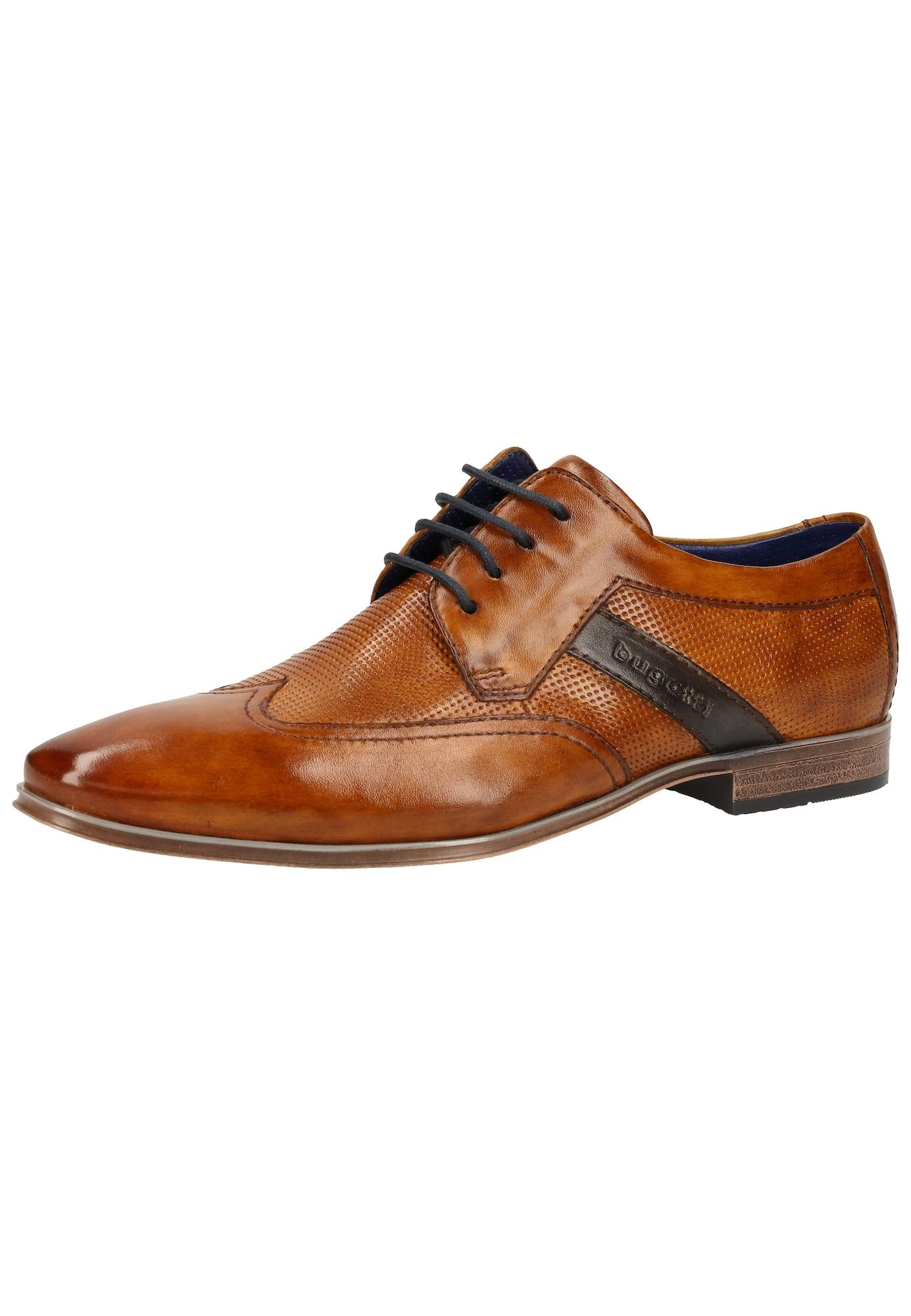 bugatti Šnurovacie topánky  kobaltovomodrá / koňak