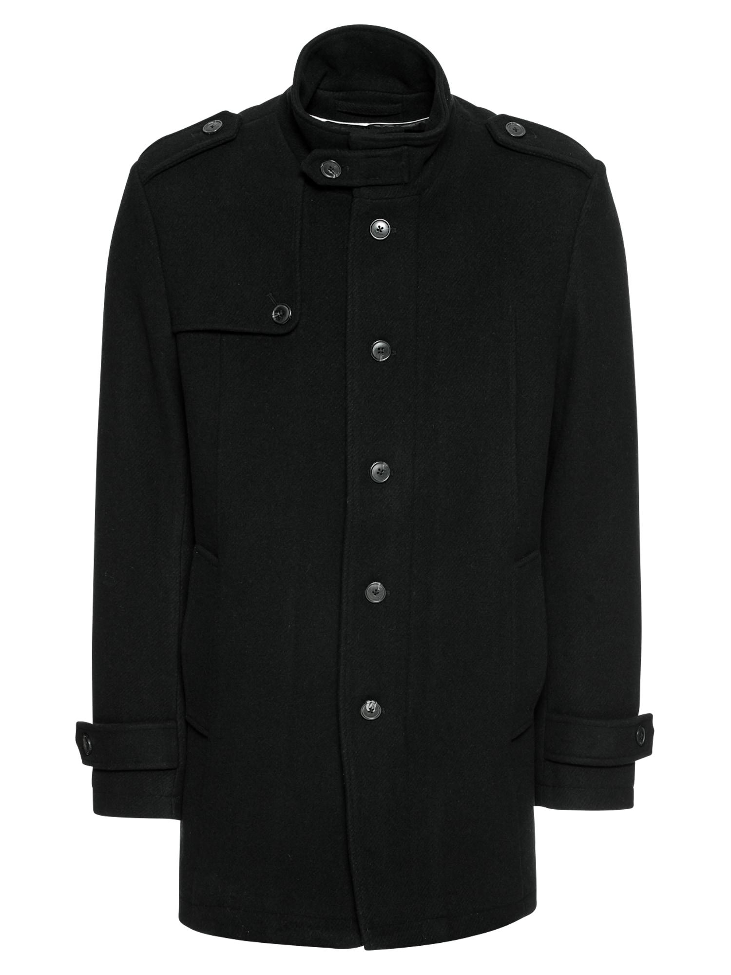 Zimní bunda SLHCOVENT WOOL COAT B černá SELECTED HOMME