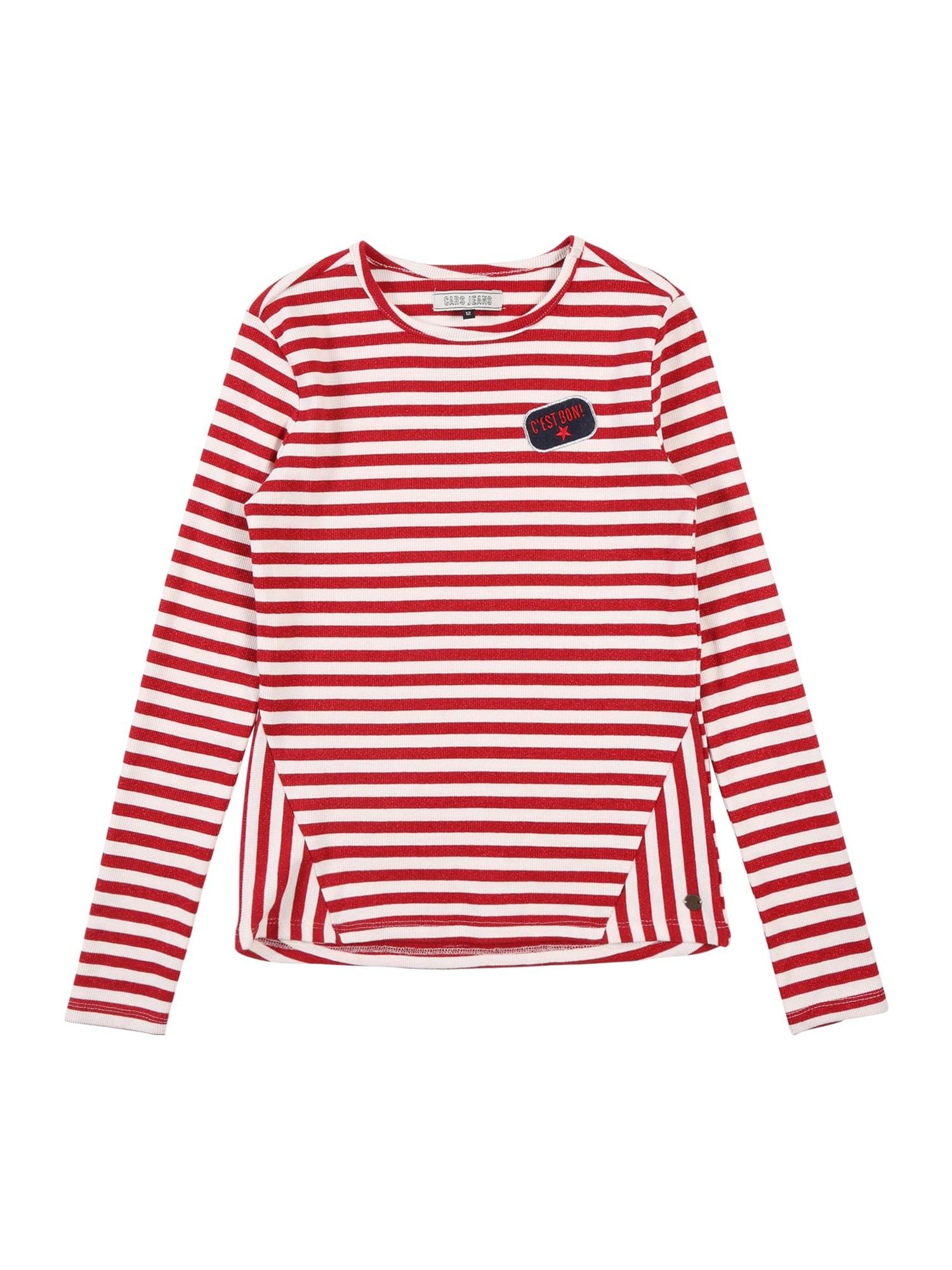 Cars Jeans Megztinis be užsegimo 'Kids FRONA LS TS STRIPE' raudona / balta