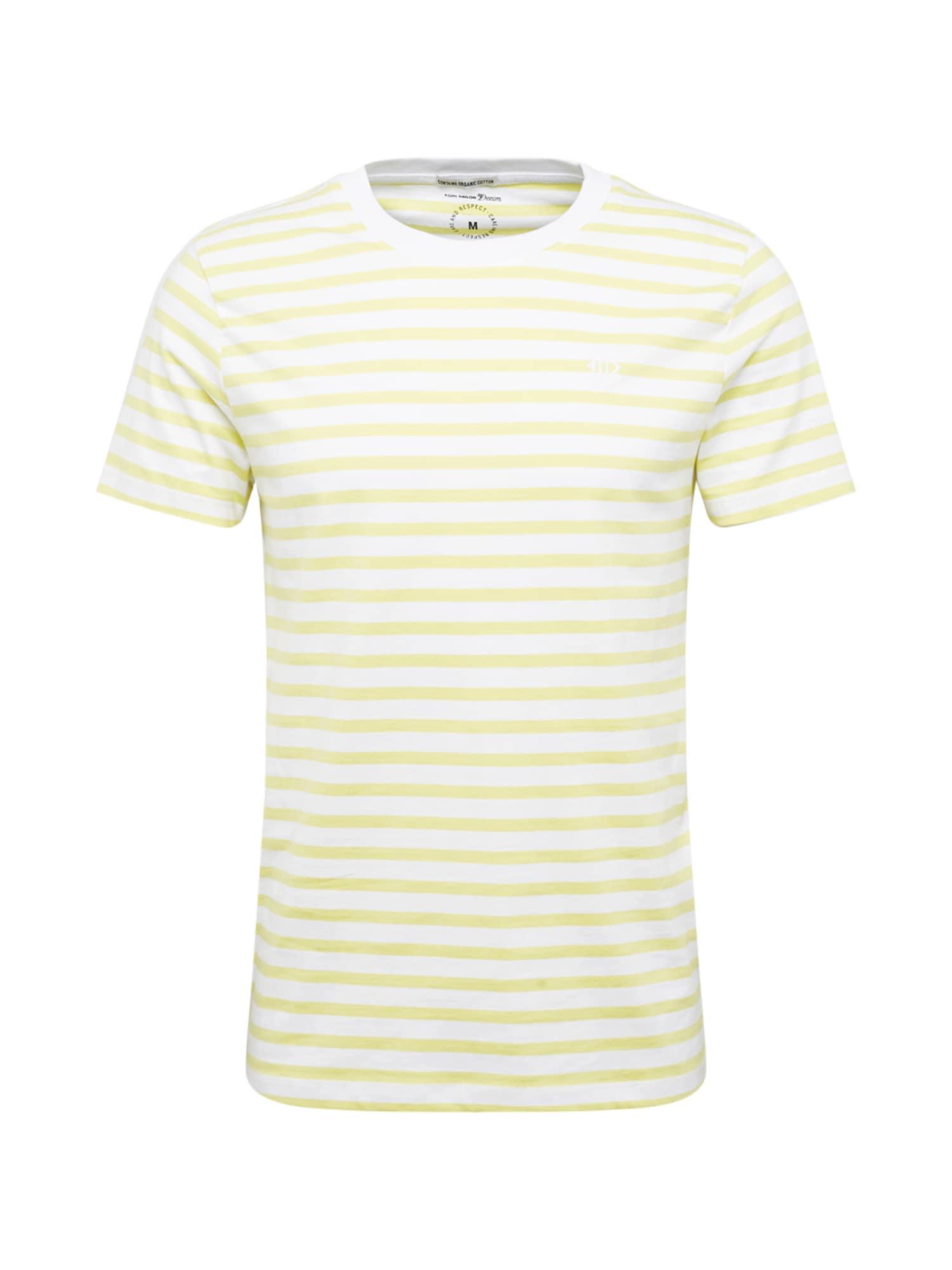TOM TAILOR DENIM Tričko  bílá / žlutá