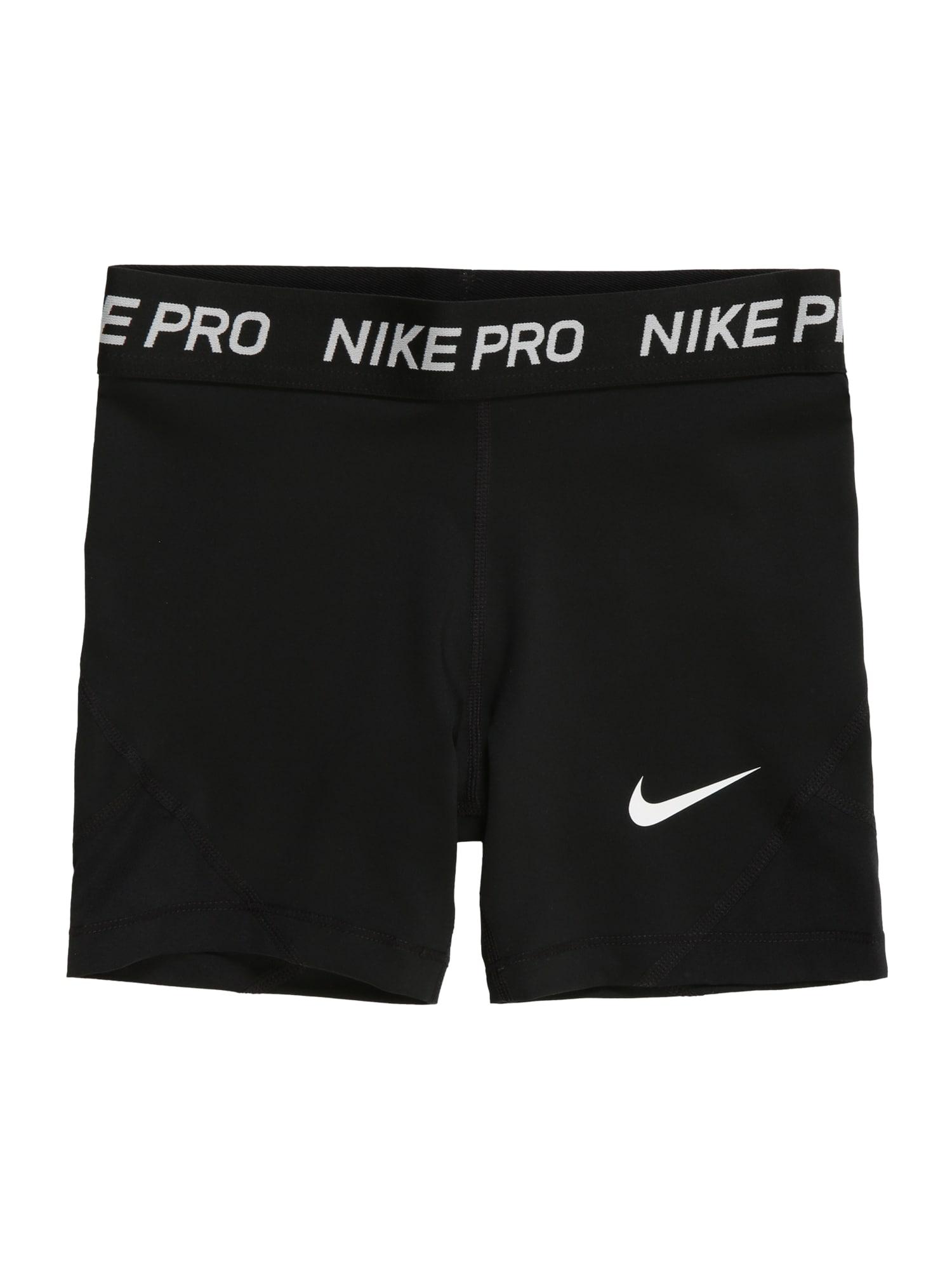 NIKE Sportinės kelnės balta / juoda